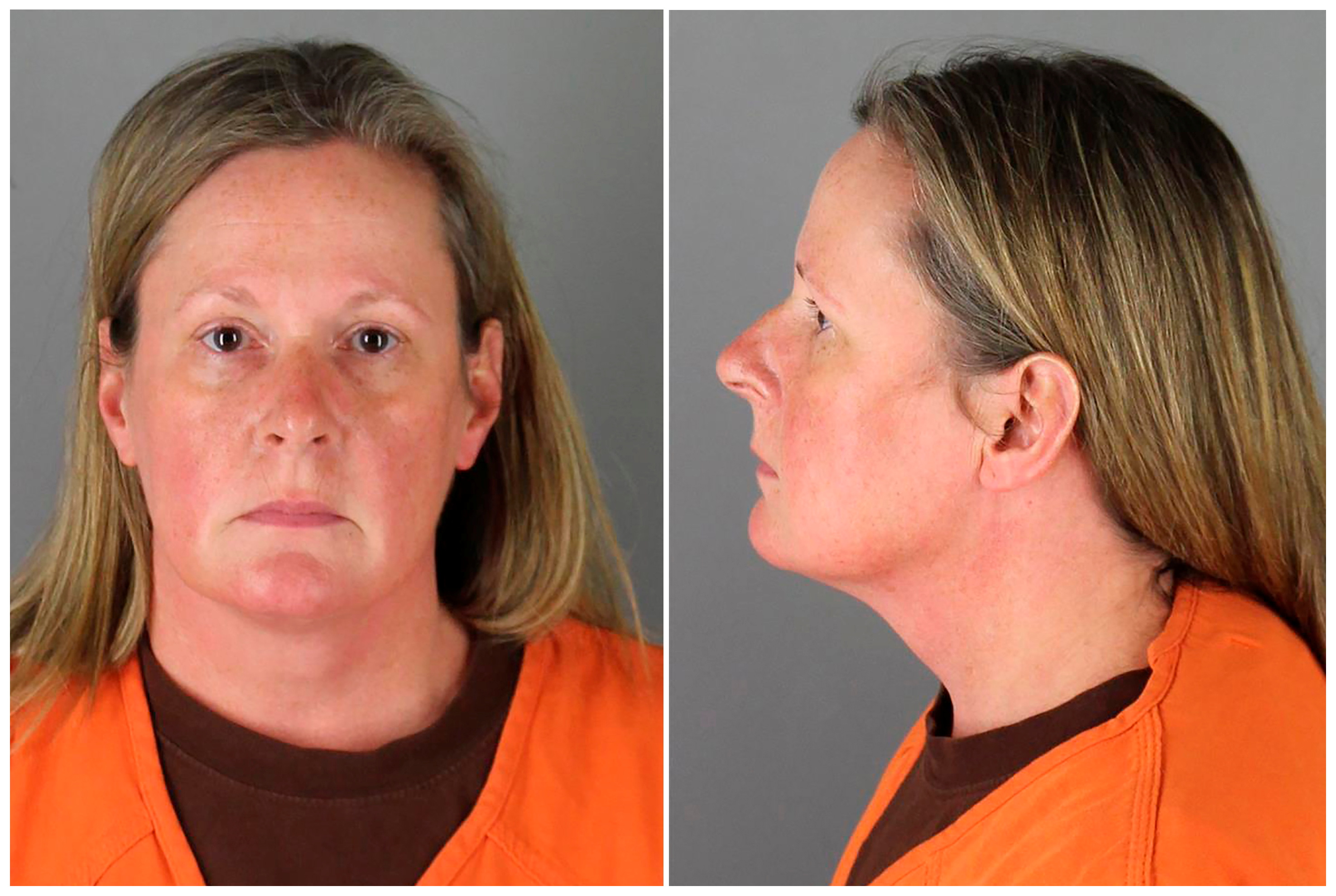 Kim Potter, a 26-year veteran who resigned from the Brooklyn Center police force, poses for a booking photograph at Hennepin County Jail for fatally shooting 20-year-old Daunte Wright during a traffic stop, in Minneapolis, Minnesota, U.S. April 14, 2021 in a combination of photographs.   Hennepin County Sheriff's Office/Handout via REUTERS.