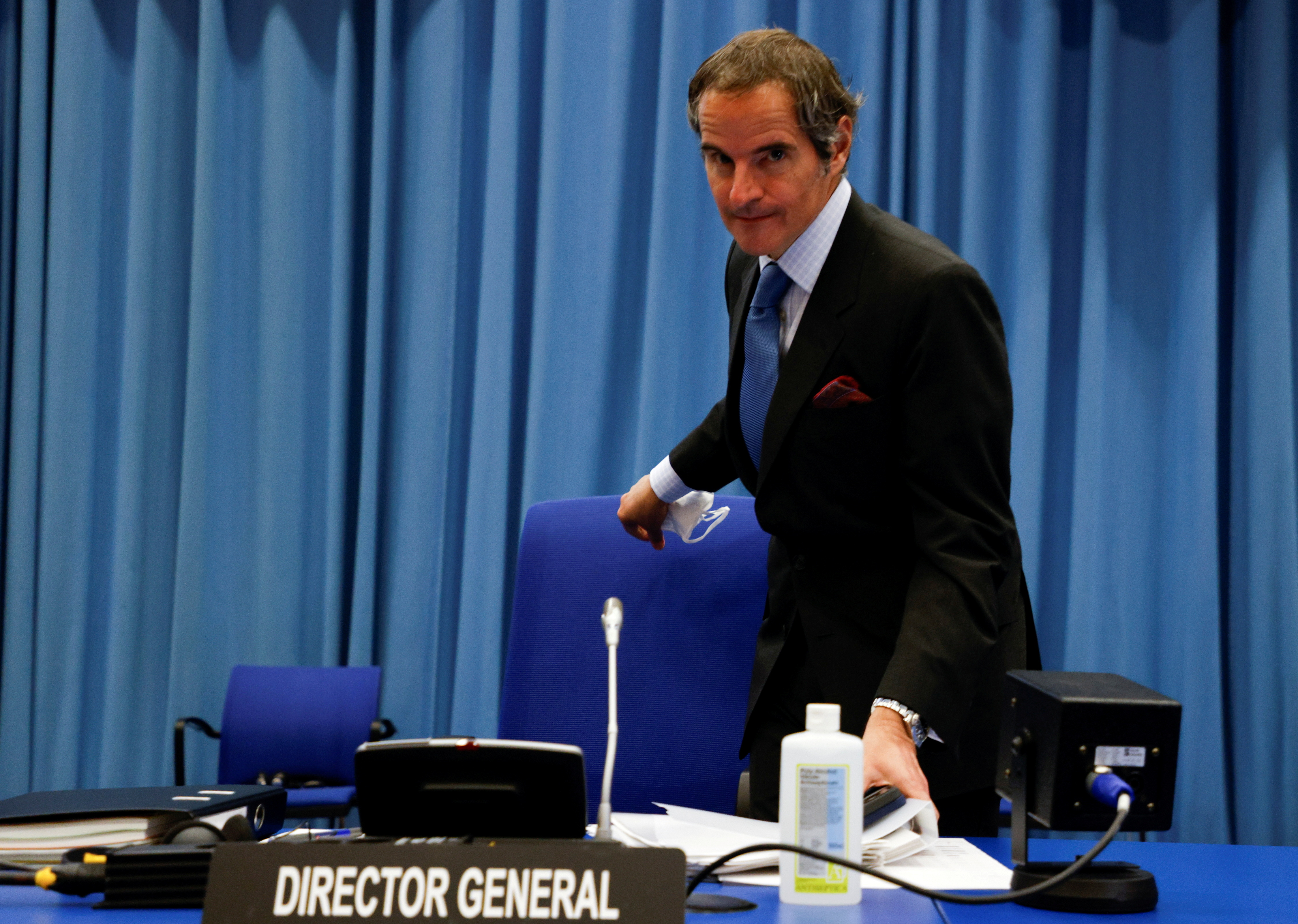 International Atomic Energy Agency Director General Rafael Grossi arrives for the beginning of an IAEA board of governors meeting in Vienna, Austria, June 7, 2021.  REUTERS/Leonhard Foeger