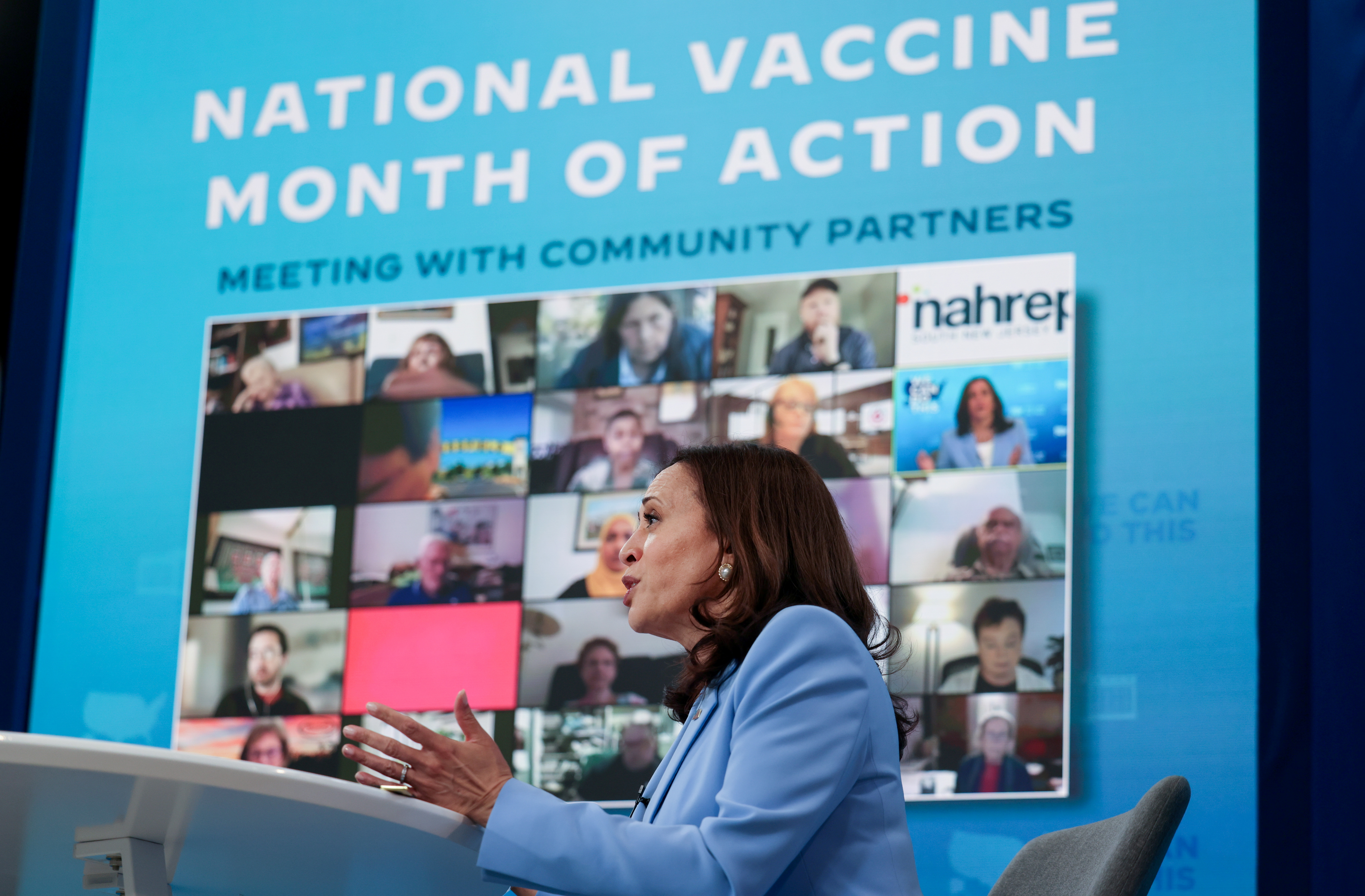 U.S. Vice President Kamala Harris addresses partners engaged in public health efforts to encourage more people to get COVID-19 vaccinations during a