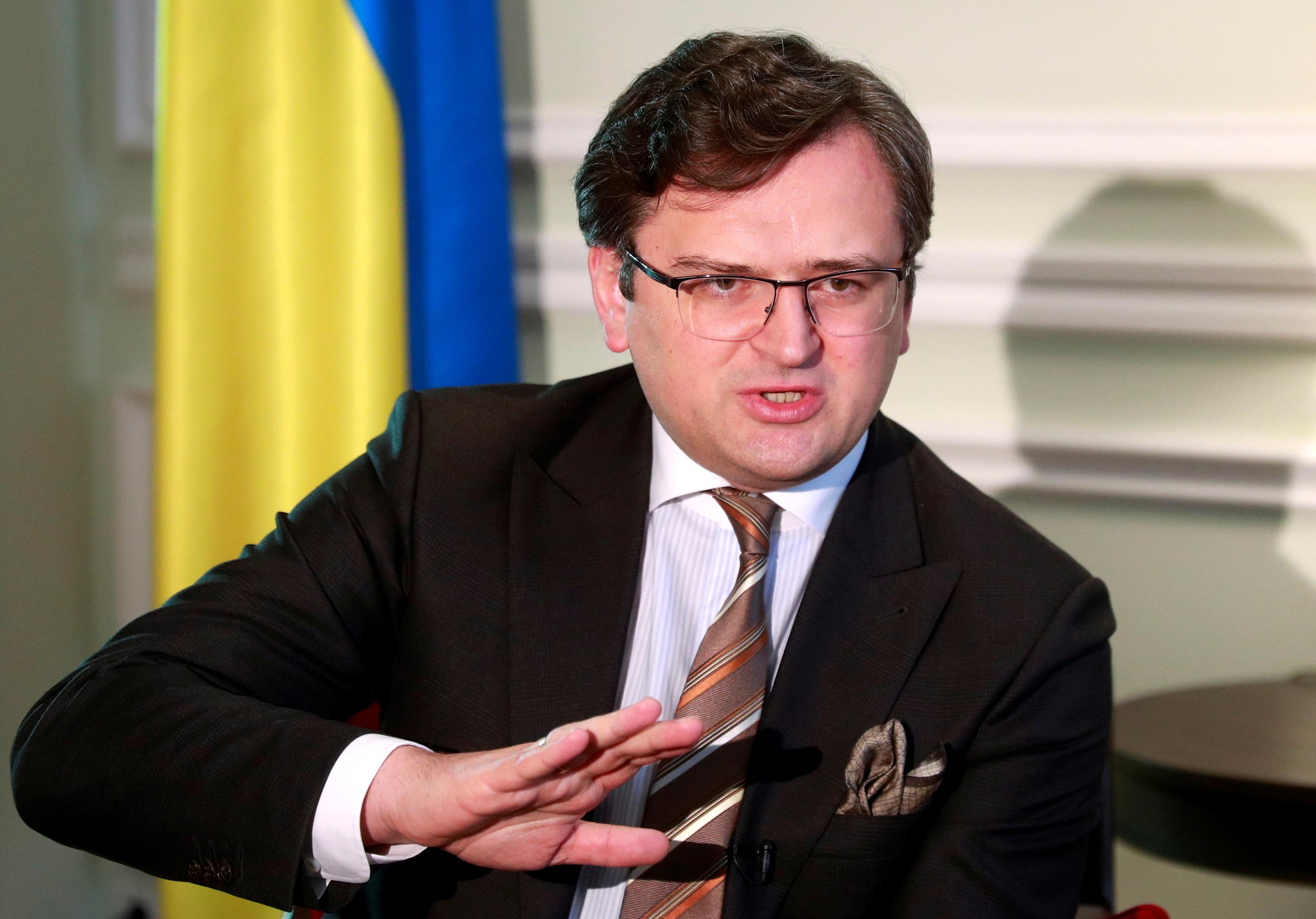 Ukraine's Foreign Minister Dmytro Kuleba speaks during an interview with Reuters in Kyiv, Ukraine April 21, 2021.  REUTERS/Valentyn Ogirenko