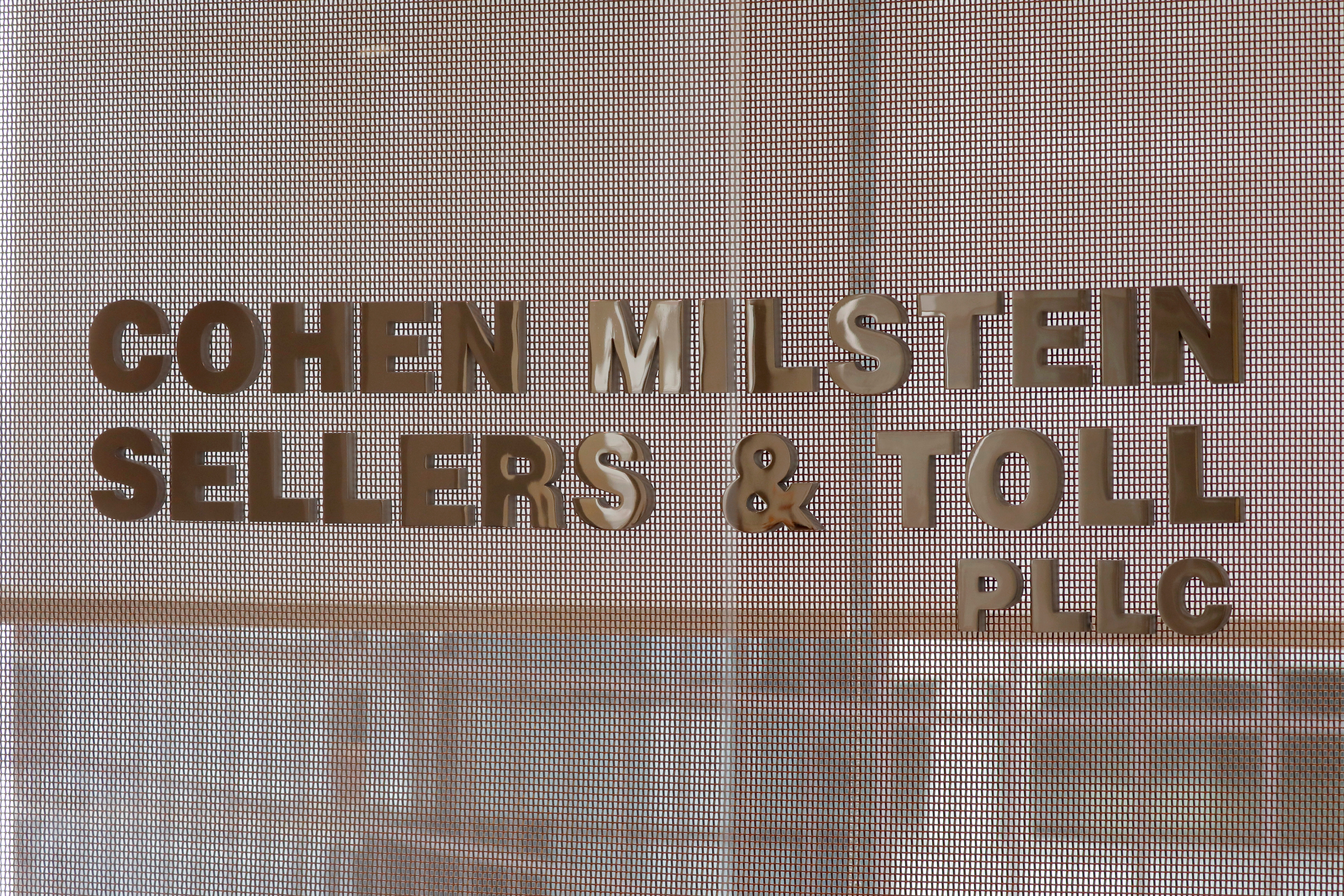 Signage is seen at the law firm of Cohen Milstein Sellers & Toll PLLC in their legal offices in Manhattan, New York City, New York, U.S., April 28, 2021. REUTERS/Andrew Kelly