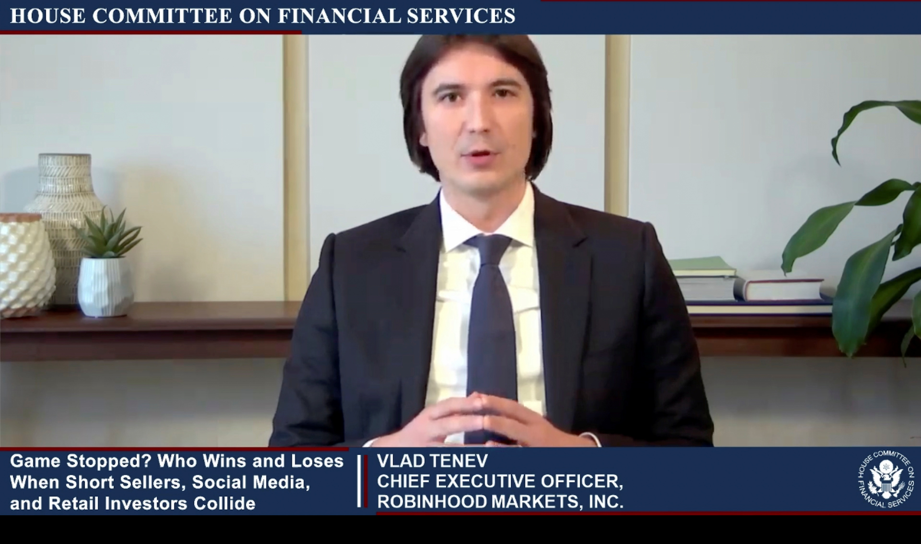 "Vlad Tenev, CEO of Robinhood Markets, is seen testifying about GameStop trading in a frame grab from video during an entirely virtual hearing of the U.S. House of Representatives Committee on Financial Services entitled ""Game Stopped? Who Wins and Loses When Short Sellers, Social Media, and Retail Investors Collide?"", in Washington, U.S., February 18, 2021.   House Committee on Financial Services/Handout via Reuters"