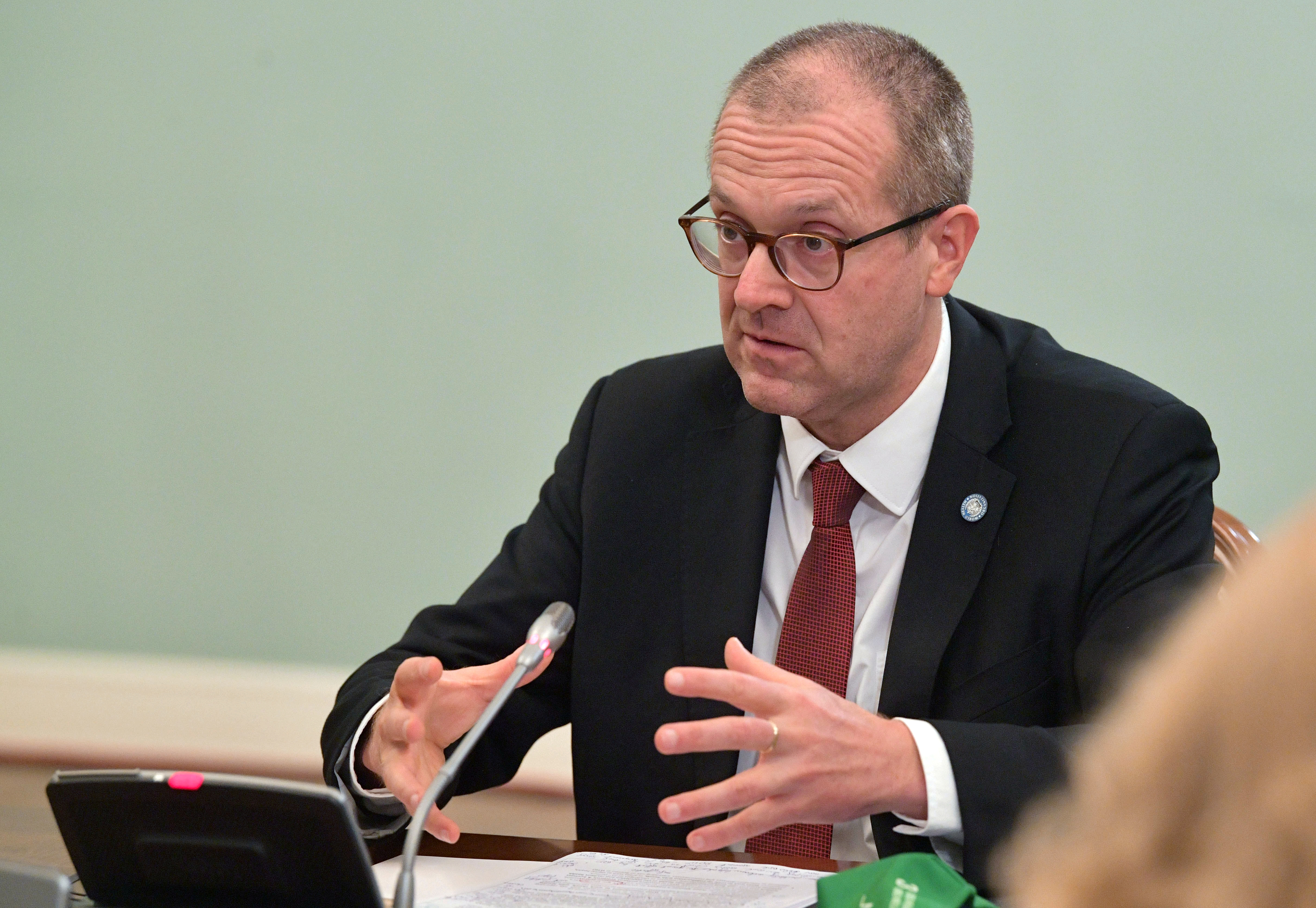 Hans Kluge, World Health Organization regional director for Europe, attends a meeting with Russian Prime Minister Mikhail Mishustin in Moscow, Russia September 23, 2020. Sputnik/Alexander Astafyev/Pool via REUTERS
