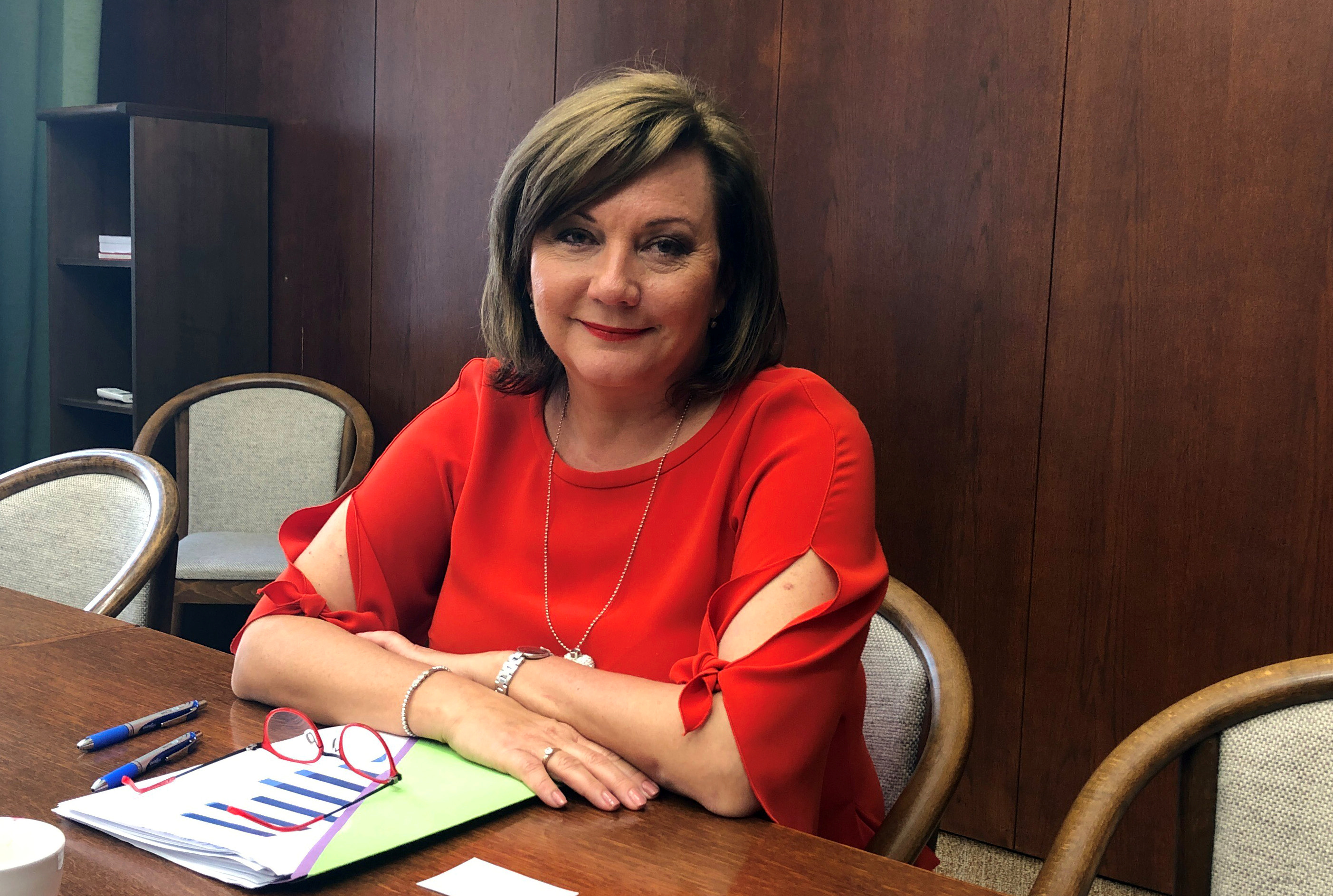 Czech Finance Minister Alena Schillerova attends an interview with Reuters in Prague, Czech Republic, October 11, 2019.   REUTERS/Robert Muller
