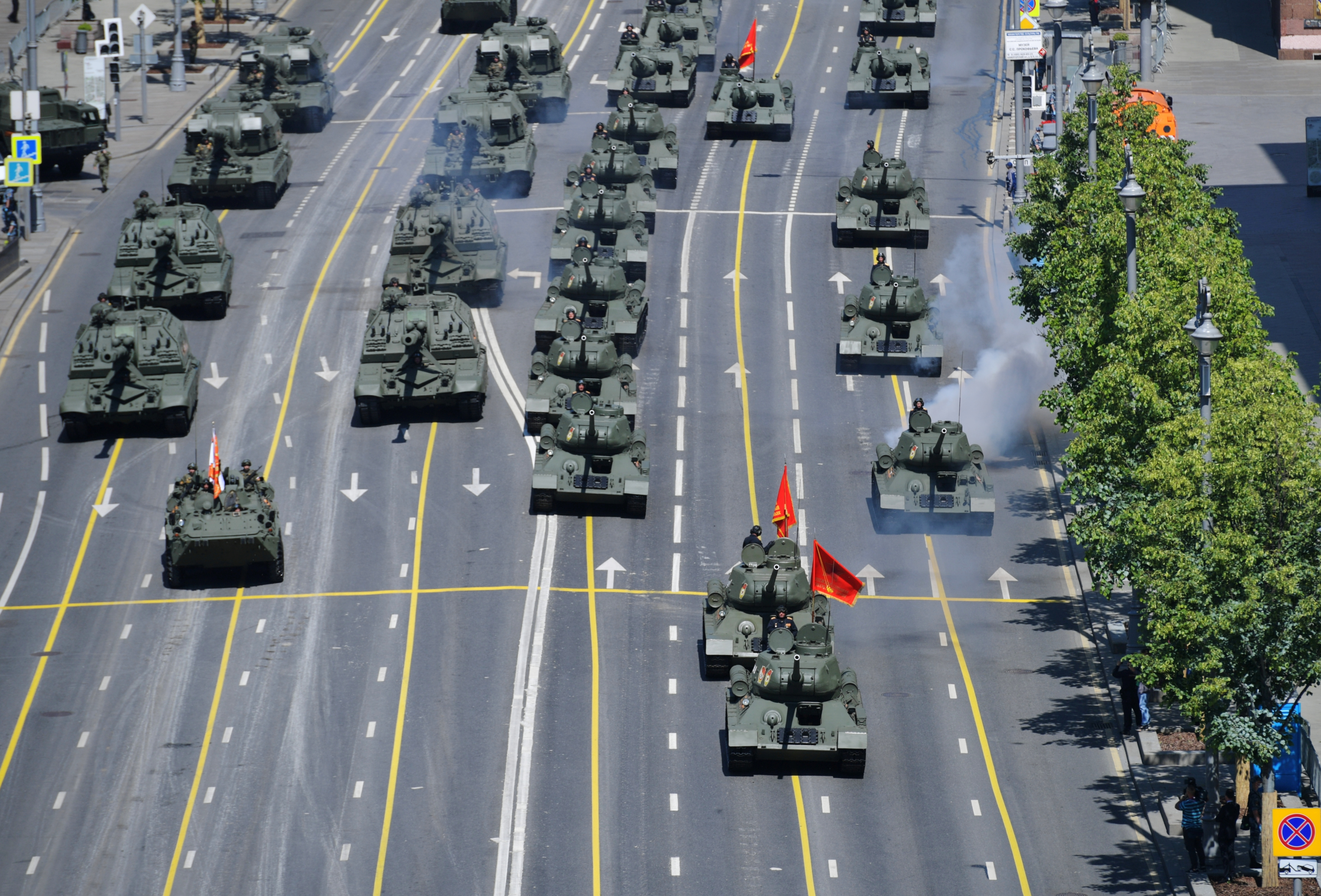 Armoured vehicles drive during the Victory Day Parade in Moscow, Russia, June 24, 2020. Host photo agency/Vladimir Trefilov via REUTERS