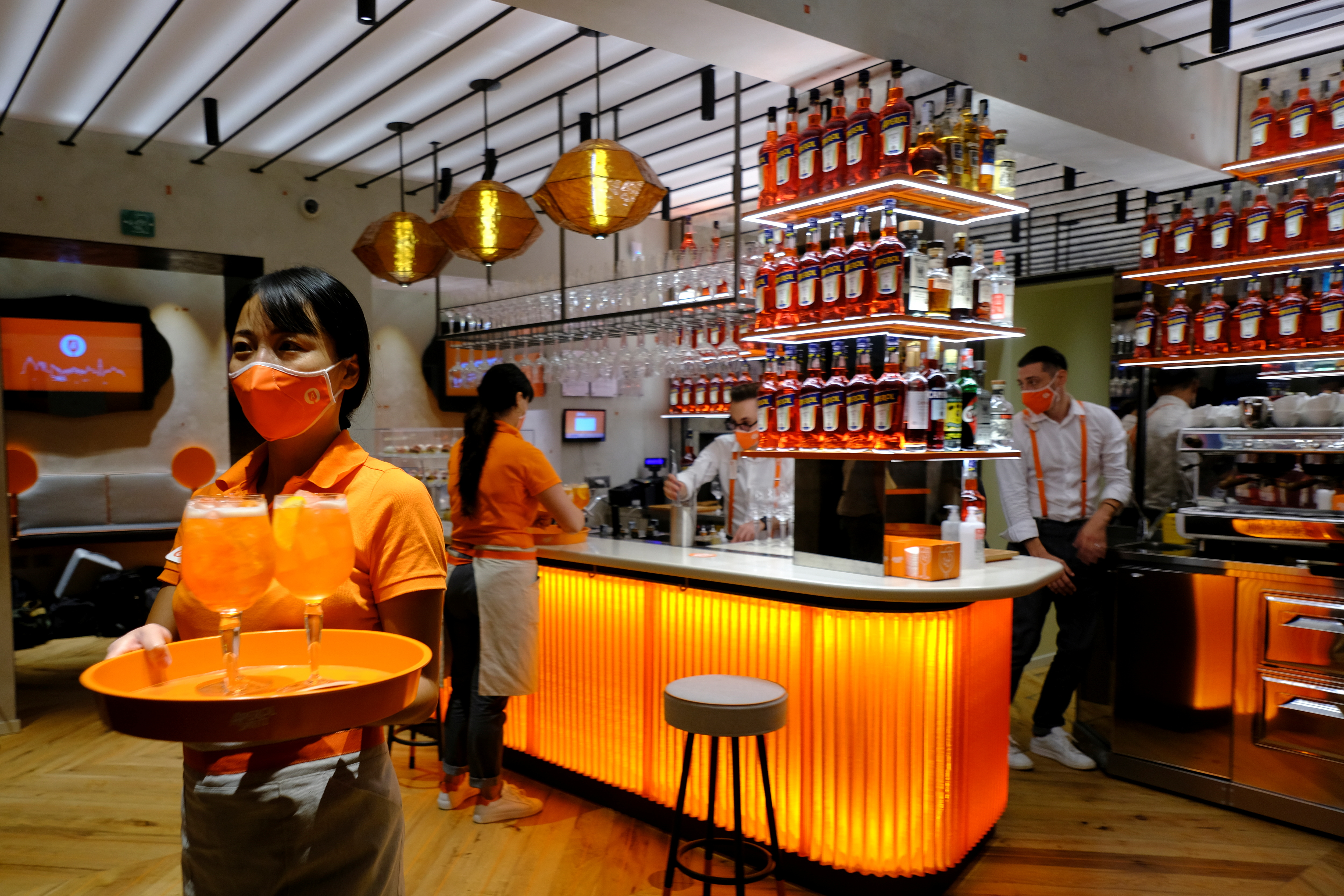 General view at a Campari inauguration of a new brand house for Aperol, its best-selling beverage, in Venice Italy, August 30, 2021. REUTERS/Manuel Silvestri