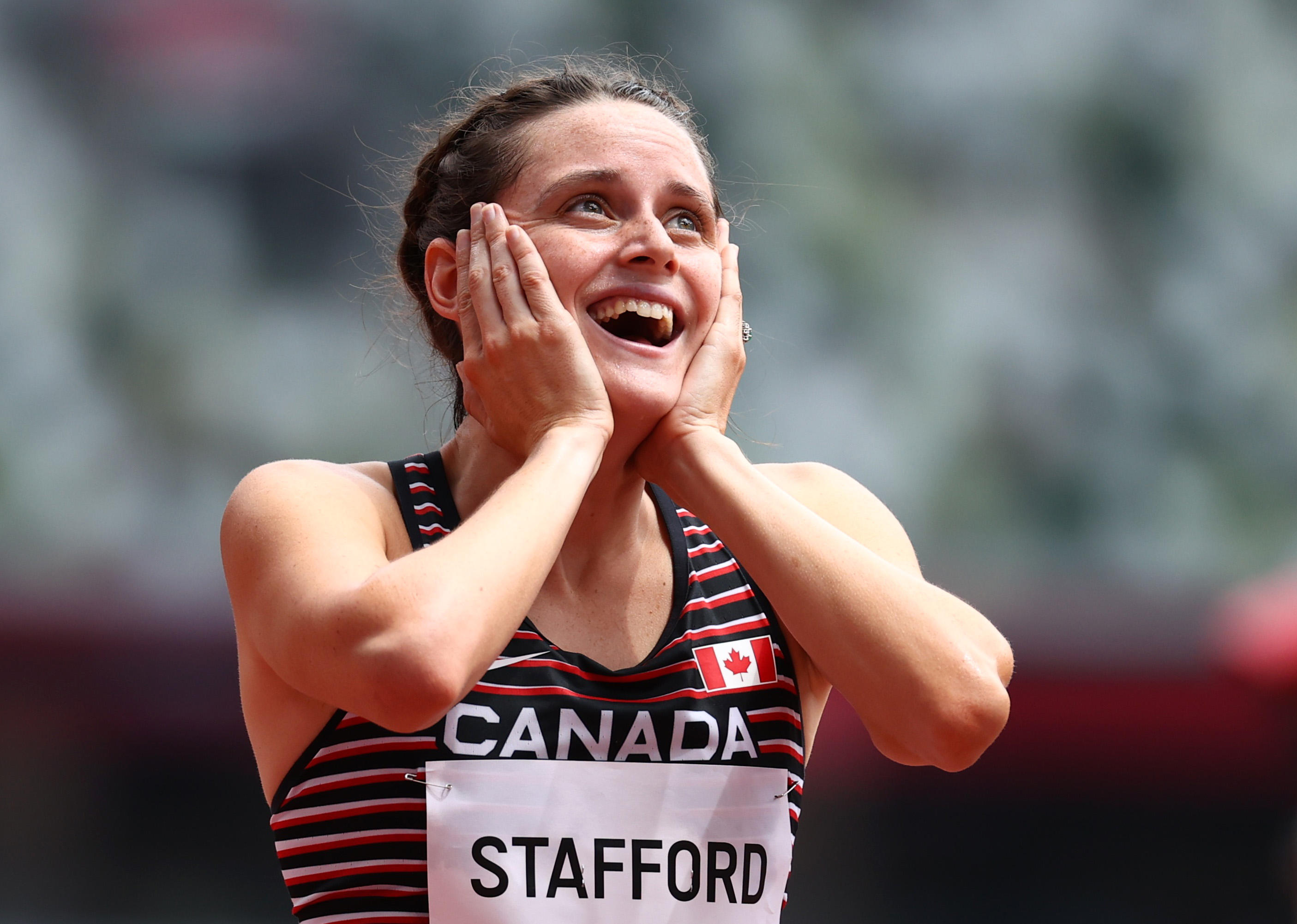 Tokyo 2020 Olympics - Athletics - Women's 1500m - Round 1- OLS - Olympic Stadium, Tokyo, Japan - August 2, 2021. Lucia Stafford of Canada reacts after competing REUTERS/Lucy Nicholson - SP1EH8203MV8P