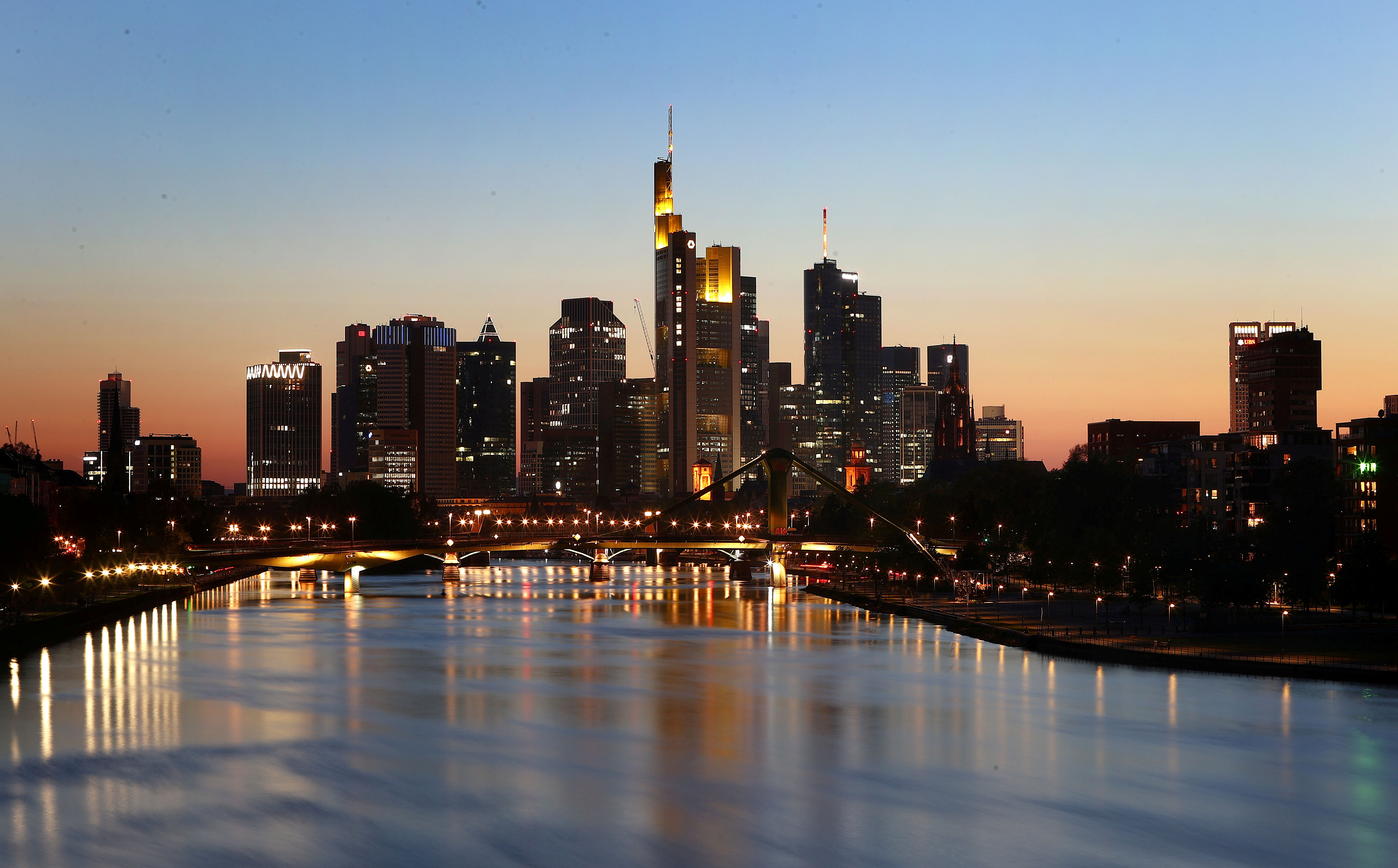 The skyline with the financial district is photographed during sunset in Frankfurt, Germany, April 22, 2020.   REUTERS/Kai Pfaffenbach