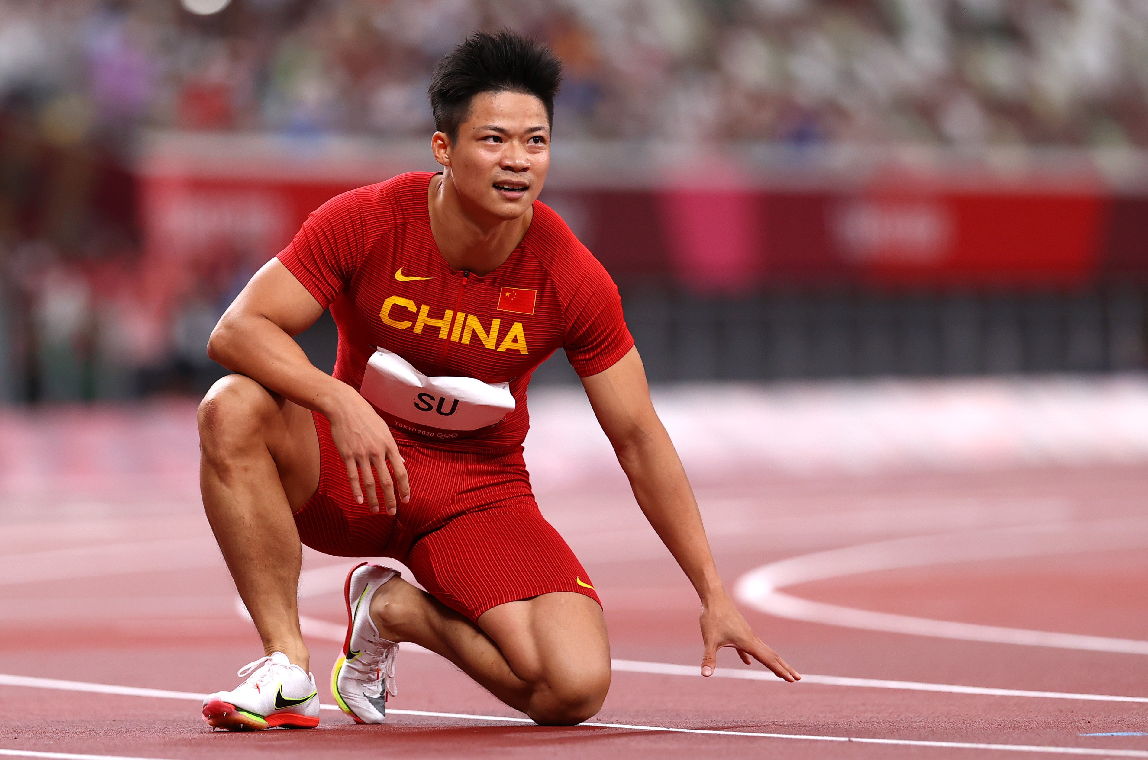 Tokyo 2020 Olympics - Athletics - Men's 100m - Final - OLS - Olympic Stadium, Tokyo, Japan - August 1, 2021. Su Bingtian of China reacts REUTERS/Andrew Boyers/File Photo