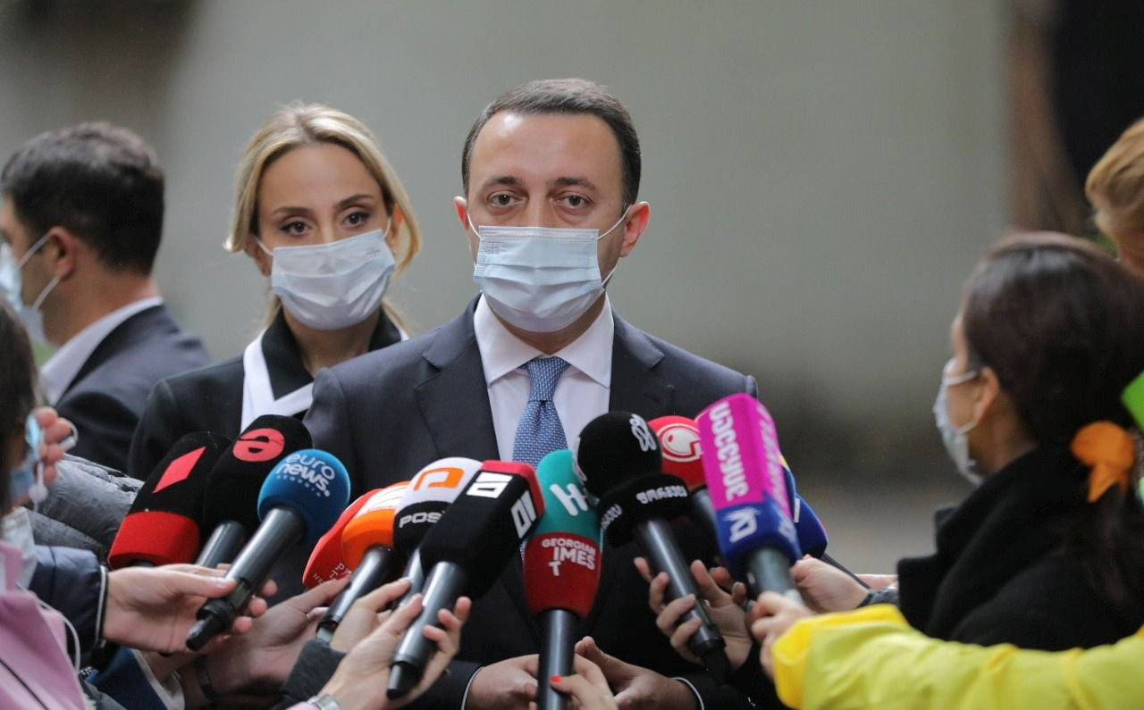 Georgia's Prime Minister Irakli Garibashvili speaks to the media at a polling station during the municipal elections in Tbilisi, Georgia October 2, 2021. Press Office of Georgian Government/Handout via REUTERS
