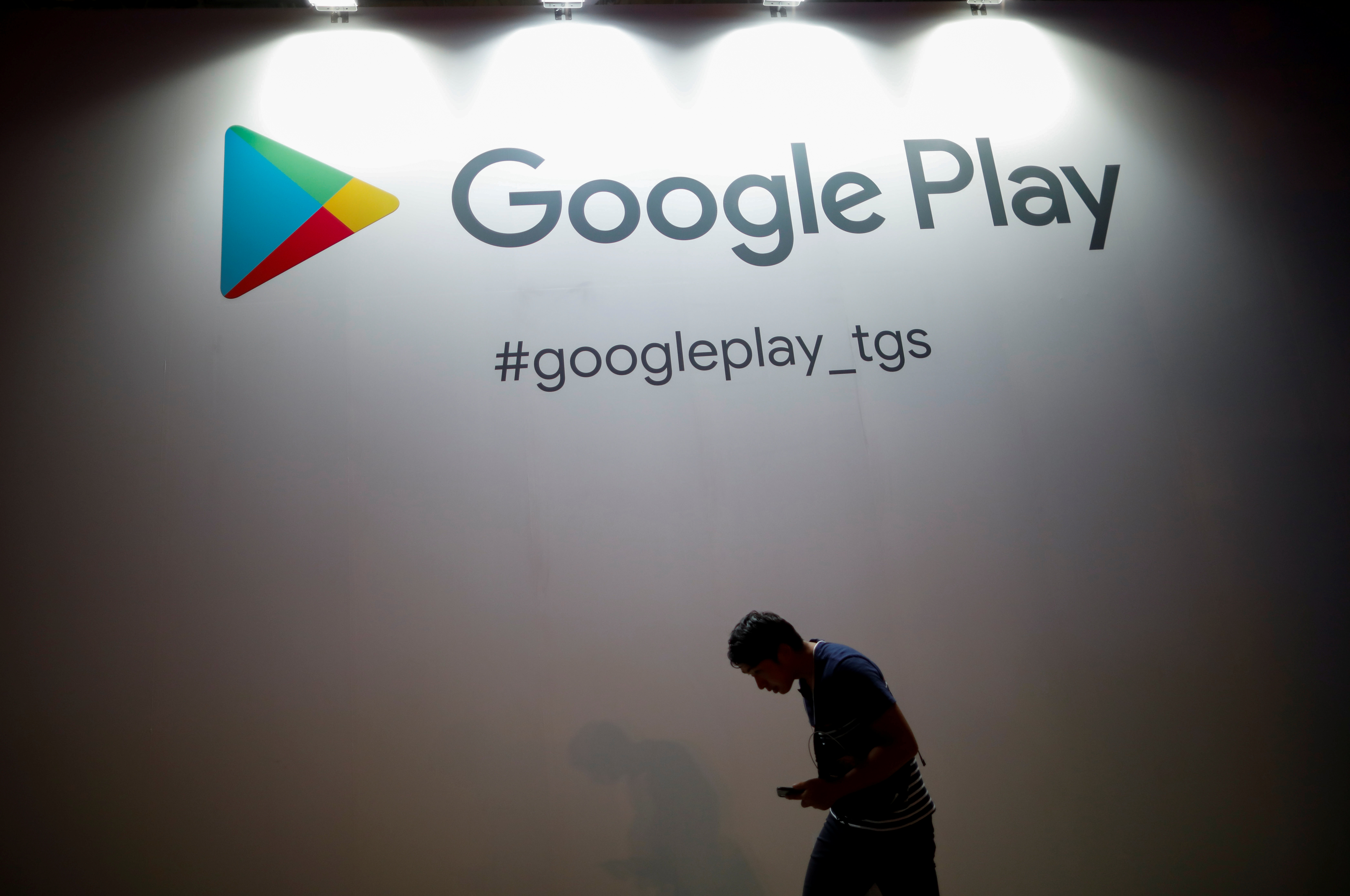 The logo of Google Play is displayed at Tokyo Game Show 2019 in Chiba, east of Tokyo, Japan, September 12, 2019. REUTERS/Issei Kato