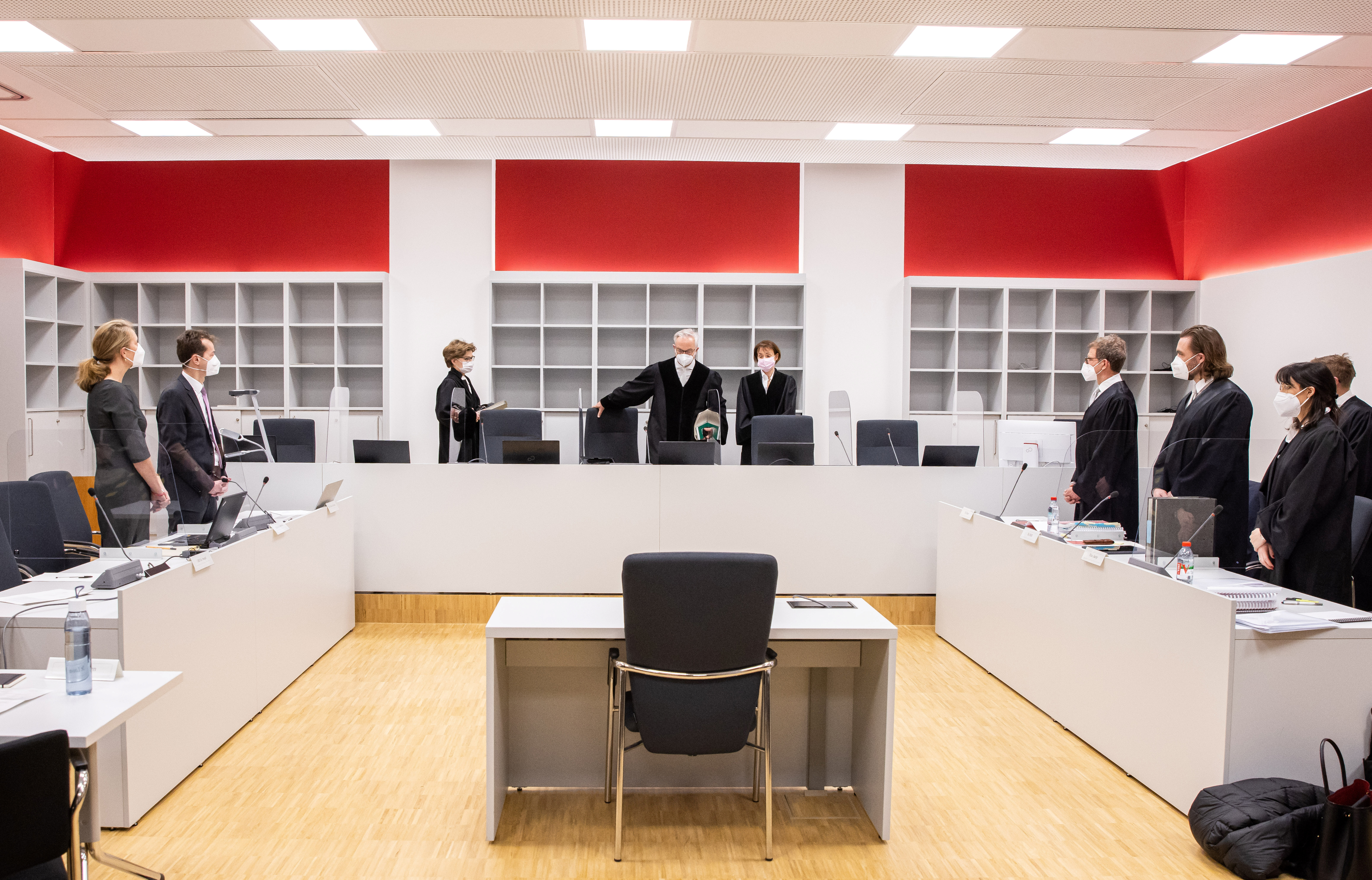 Germany's Federal Cartel Office and Facebook lawyers wait as judge Thomas Kuehnen arrives in a the courtroom in Duesseldorf, Germany, March 24, 2021.  Marcel Kusch/Pool via REUTERS
