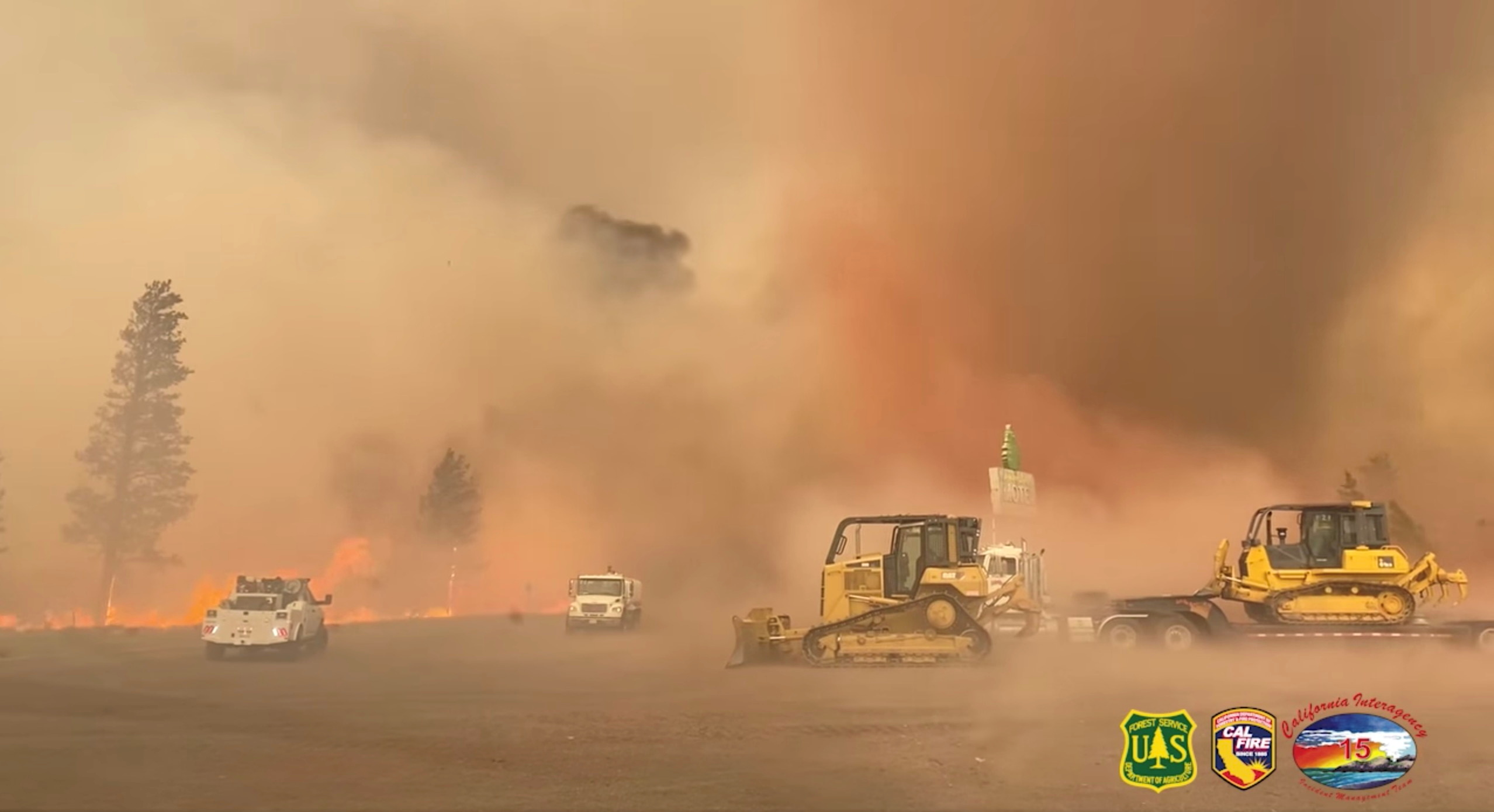 A view of a fire whirl at the Tennant wildfire in the Klamath National Forest, in Macdoel, California, U.S., June 29, 2021, in this screengrab obtained on July 10, 2021.  U.S. Forest Service/Rachel Smith/Handout via REUTERS