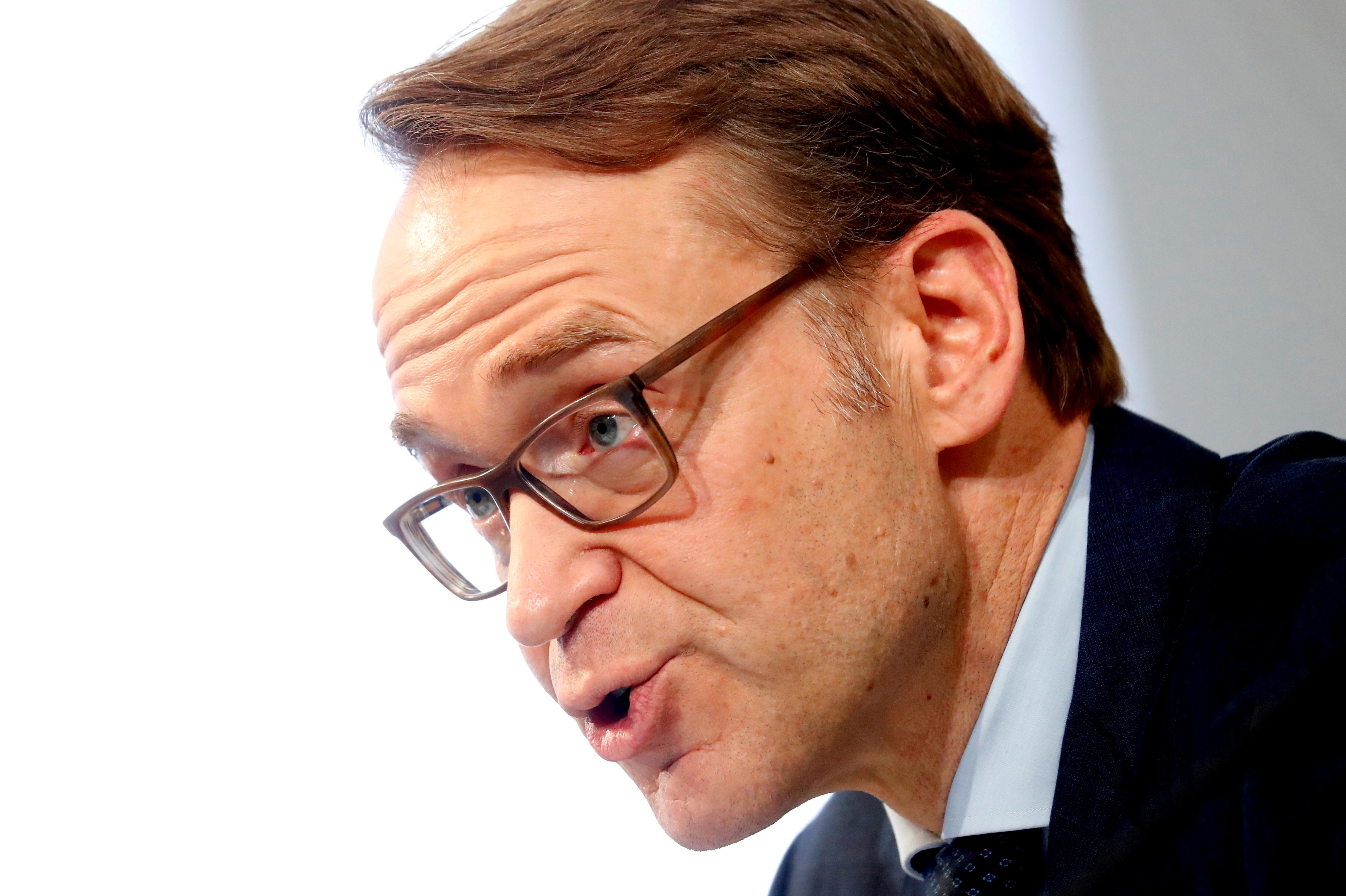 FILE PHOTO: German Bundesbank President Jens Weidmann presents the annual 2018 report in Frankfurt, Germany, February 27, 2019. REUTERS/Kai Pfaffenbach/File Photo/File Photo