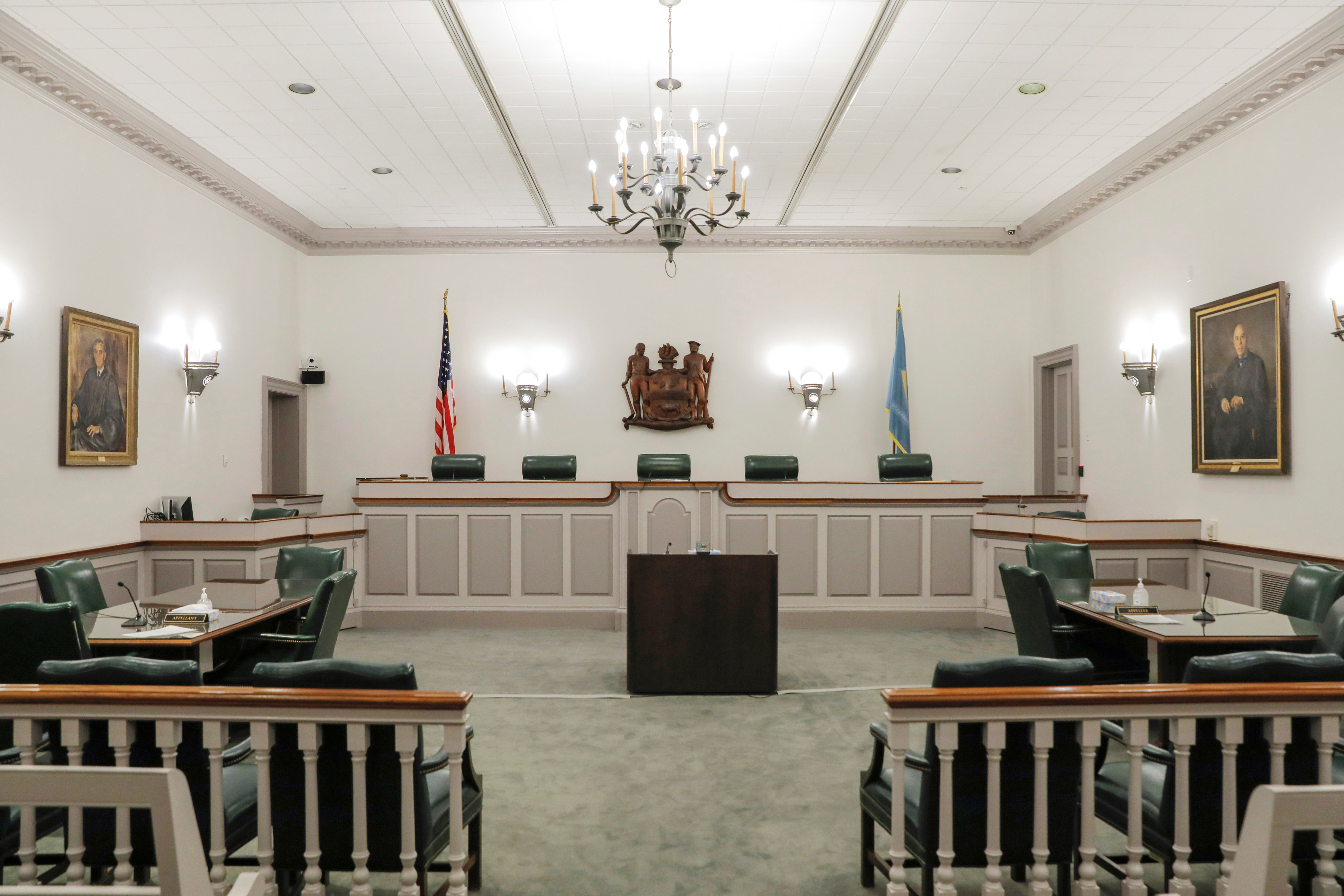 A courtroom is seen at the Delaware Supreme Court in Dover, Delaware, U.S., June 10, 2021. REUTERS/Andrew Kelly