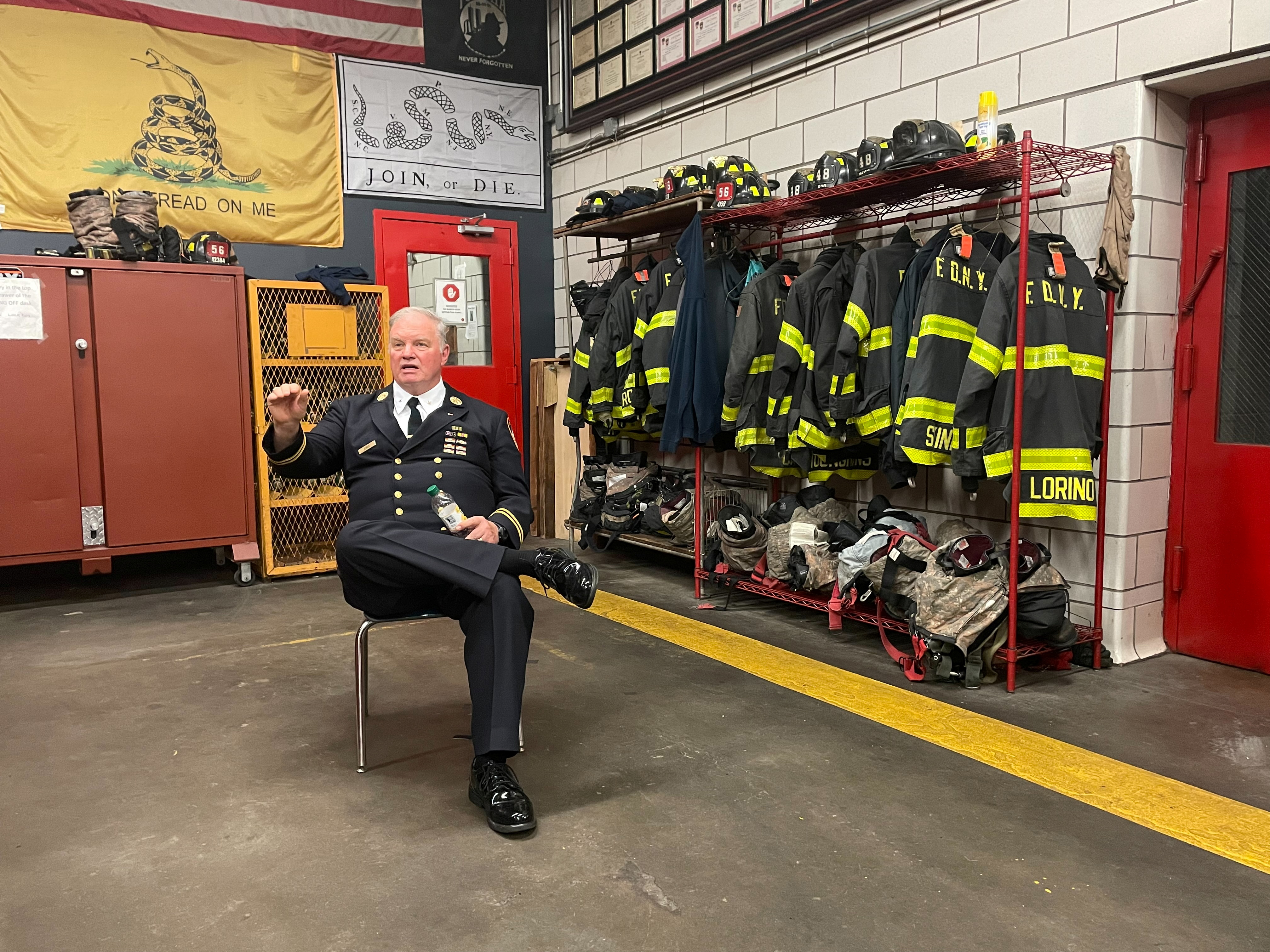 Jay Jonas, a deputy chief at the New York Fire Department, attends an interview with Reuters at a fire station in the Bronx, ahead of the 20th anniversary of the September 11 attacks, in New York, U.S. August 17, 2021. REUTERS/Dan Fastenberg