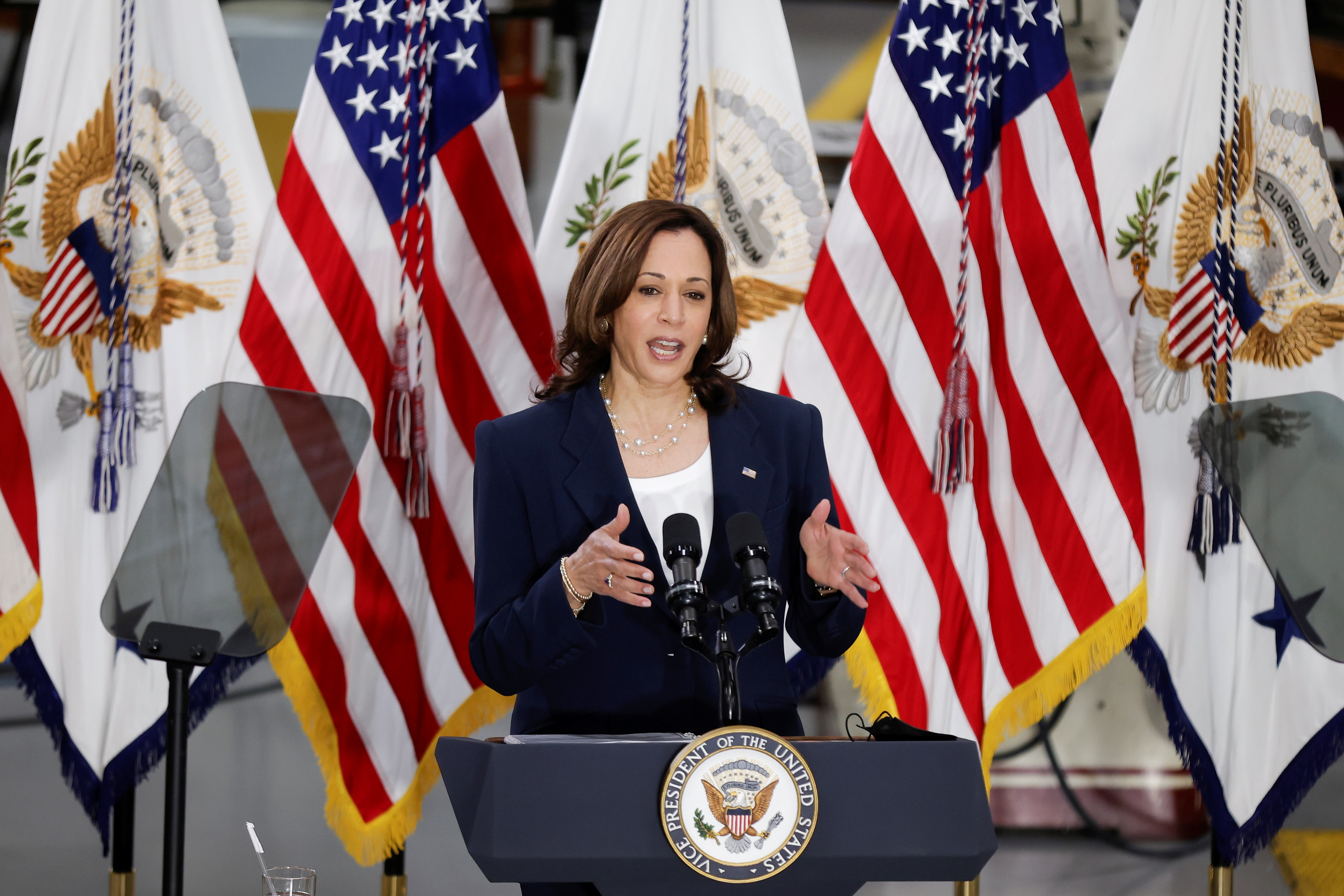 U.S. Vice President Kamala Harris delivers remarks on American Economic Recovery during a speech at Guilford Technical Community College in Greensboro, North Carolina, U.S., April 19, 2021. REUTERS/Tom Brenner