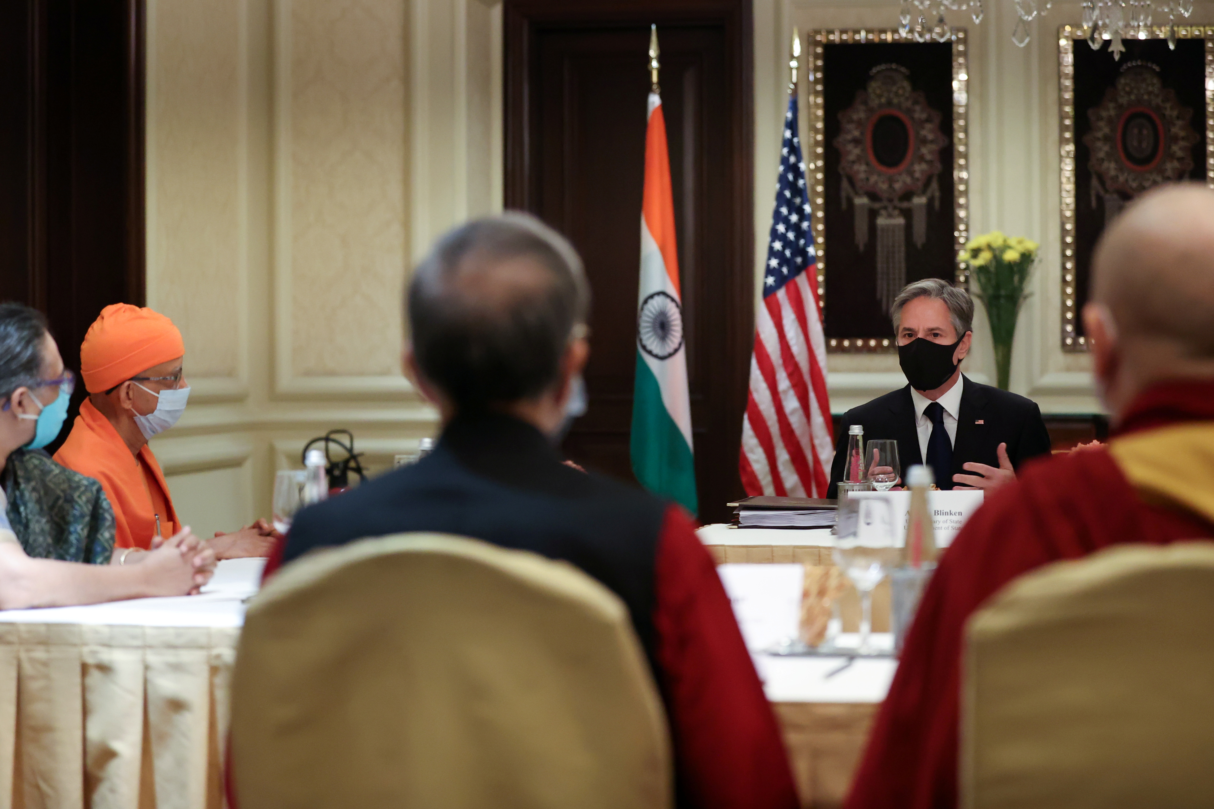 U.S. Secretary of State Antony Blinken delivers remarks to civil society organization representatives in a meeting room at the Leela Palace Hotel in New Delhi, India, July 28, 2021.REUTERS/Jonathan Ernst