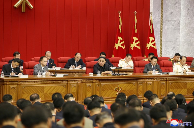 North Korean leader Kim Jong Un speaks during the fourth-day sitting of the 3rd Plenary Meeting of 8th Central Committee of the Workers' Party of Korea in Pyongyang, North Korea in this image released June 18, 2021 by the country's Korean Central News Agency. KCNA via REUTERS