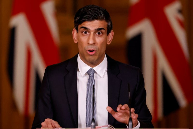 Britain's Chancellor of the Exchequer Rishi Sunak attends a virtual press conference inside 10 Downing Street in central London, Britain March 3, 2021. Tolga Akmen/Pool via REUTERS/Files