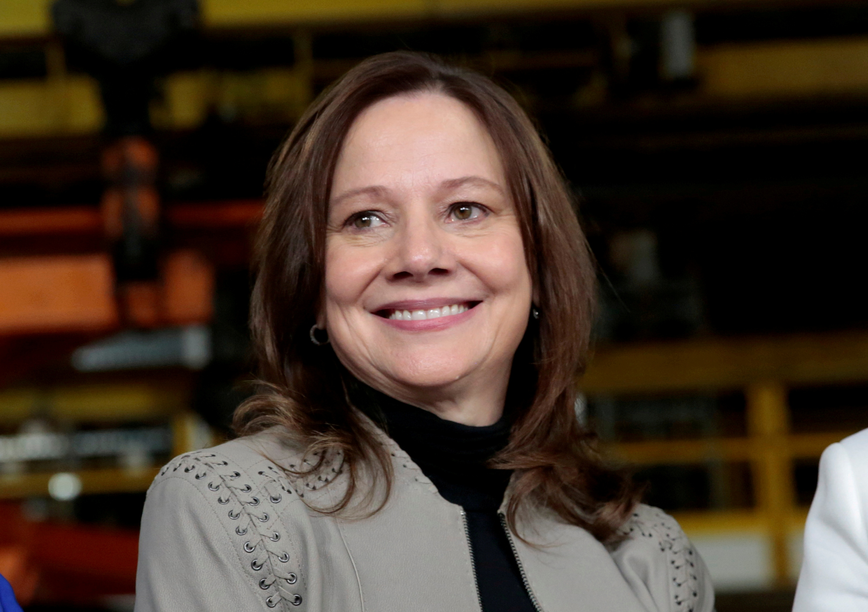 General Motors Chief Executive Officer Mary Barra poses after making an announcement of a major investment focused on the development of GM future technologies at the GM Orion Assembly Plant in Lake Orion, Michigan, U.S. March 22, 2019.  REUTERS/Rebecca Cook/File Photo