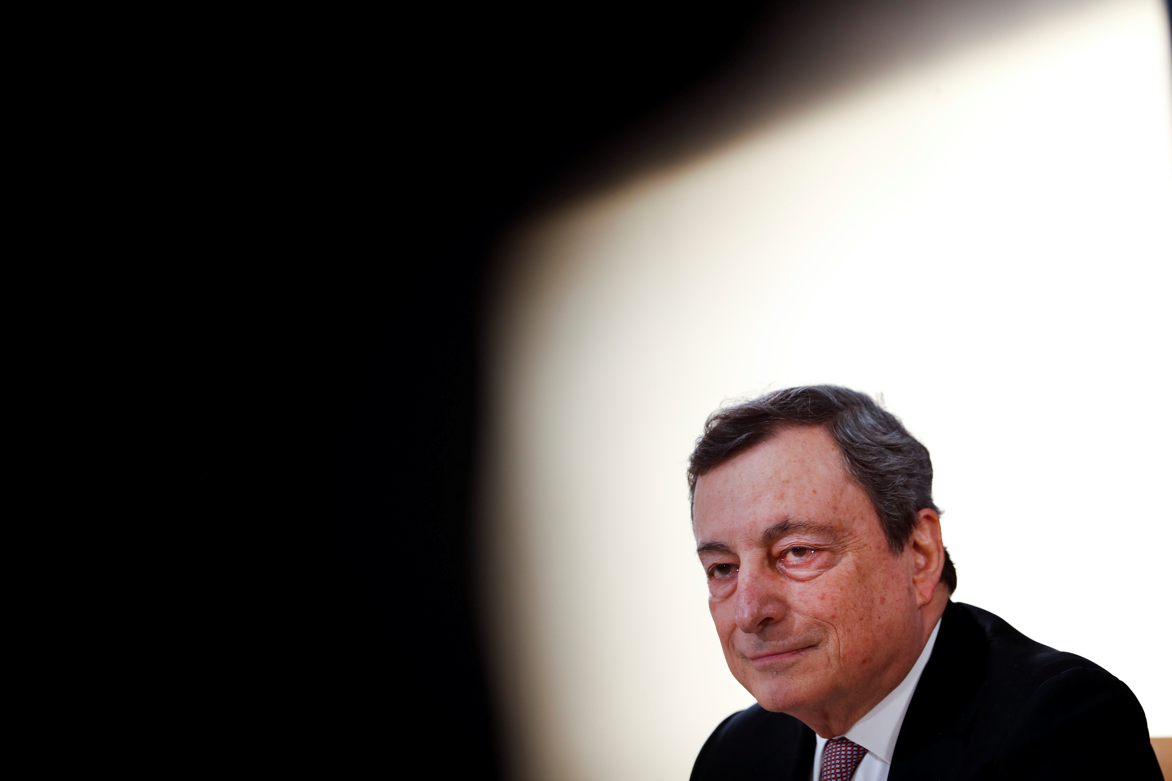 Italy's Prime Minister Mario Draghi speaks during a media conference at an EU summit in Porto, Portugal May 8, 2021. Francisco Seco/Pool via REUTERS