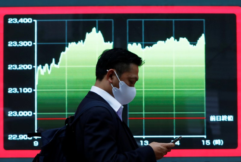 A man wearing a protective face mask walks past a screen displaying a graph showing recent Nikkei share average outside a brokerage, amid the coronavirus disease (COVID-19) outbreak, in Tokyo, Japan November 2, 2020. REUTERS/Issei Kato