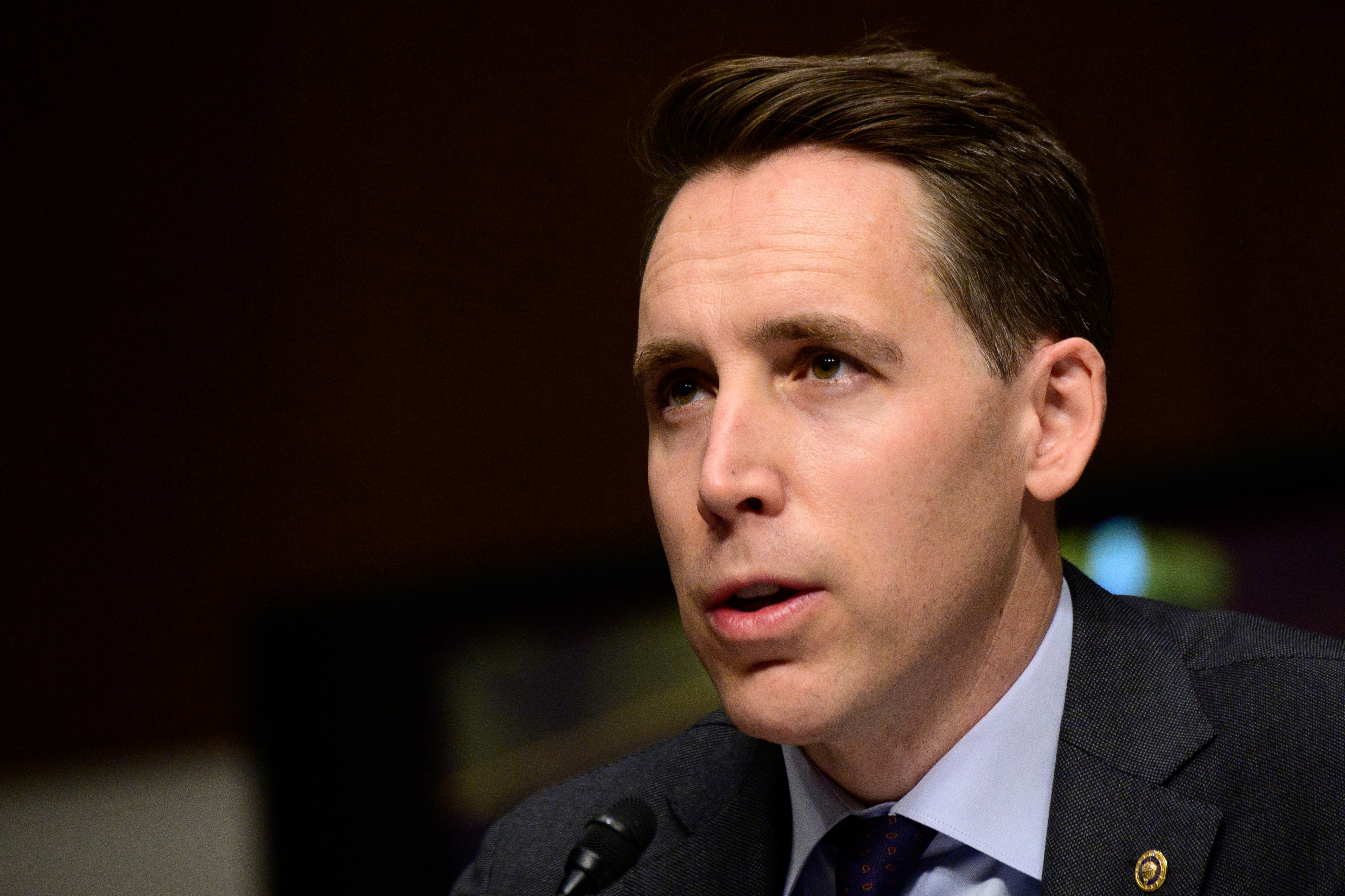 Sen. Josh Hawley, R-Mo., speaks during a Senate Homeland Security and Governmental Affairs and Senate Rules and Administration committees joint hearing on Capitol Hill, Washington, U.S. February 23, 2021, to examine the January 6th attack on the Capitol.    Erin Scott/Pool via REUTERS