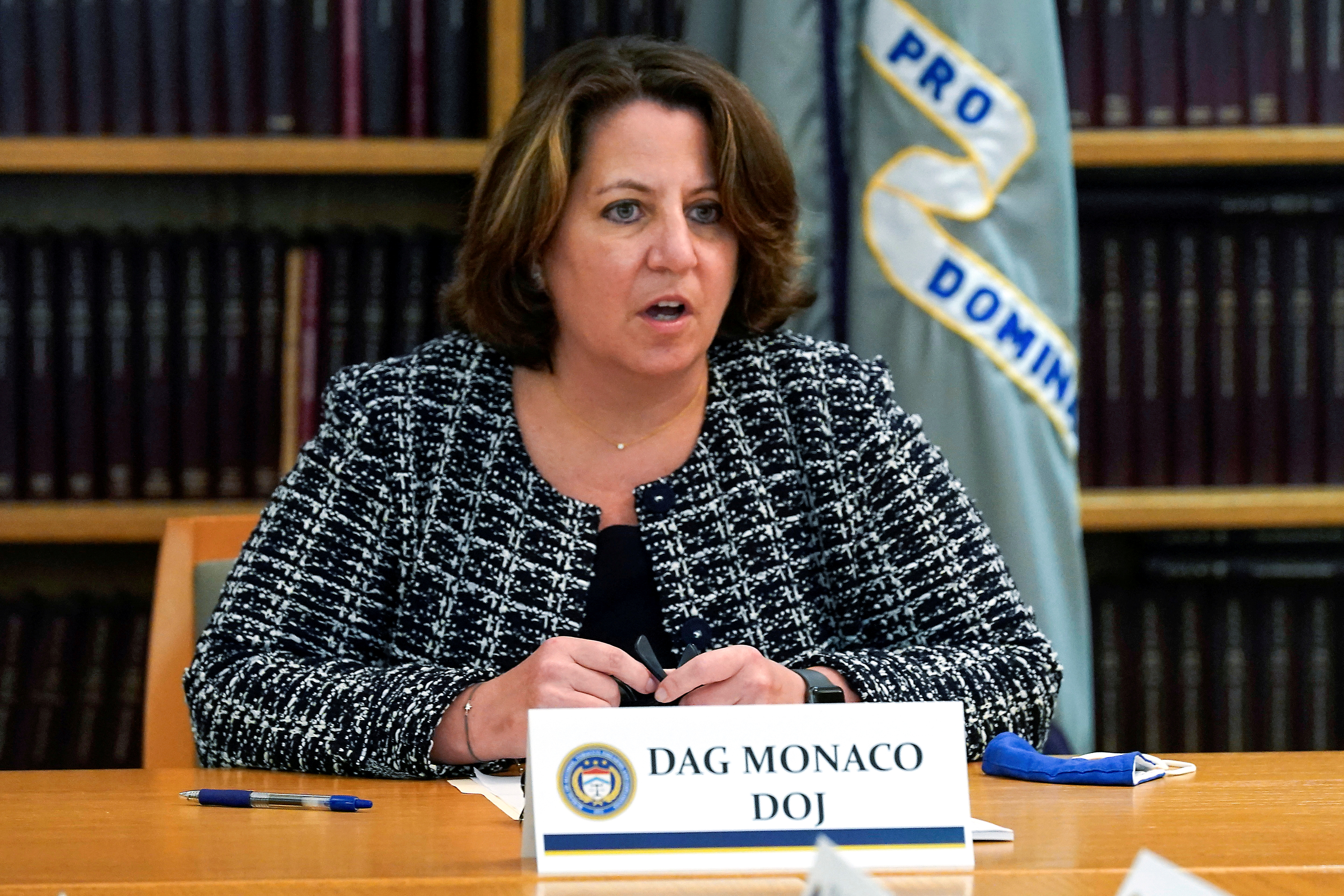 U.S. Deputy Attorney General Lisa Monaco delivers opening remarks at a meeting with federal and local law enforcement to discuss their work on the recently announced firearms trafficking strike forces, in New York, U.S., August 4, 2021. Richard Drew/Pool via REUTERS/File Photo