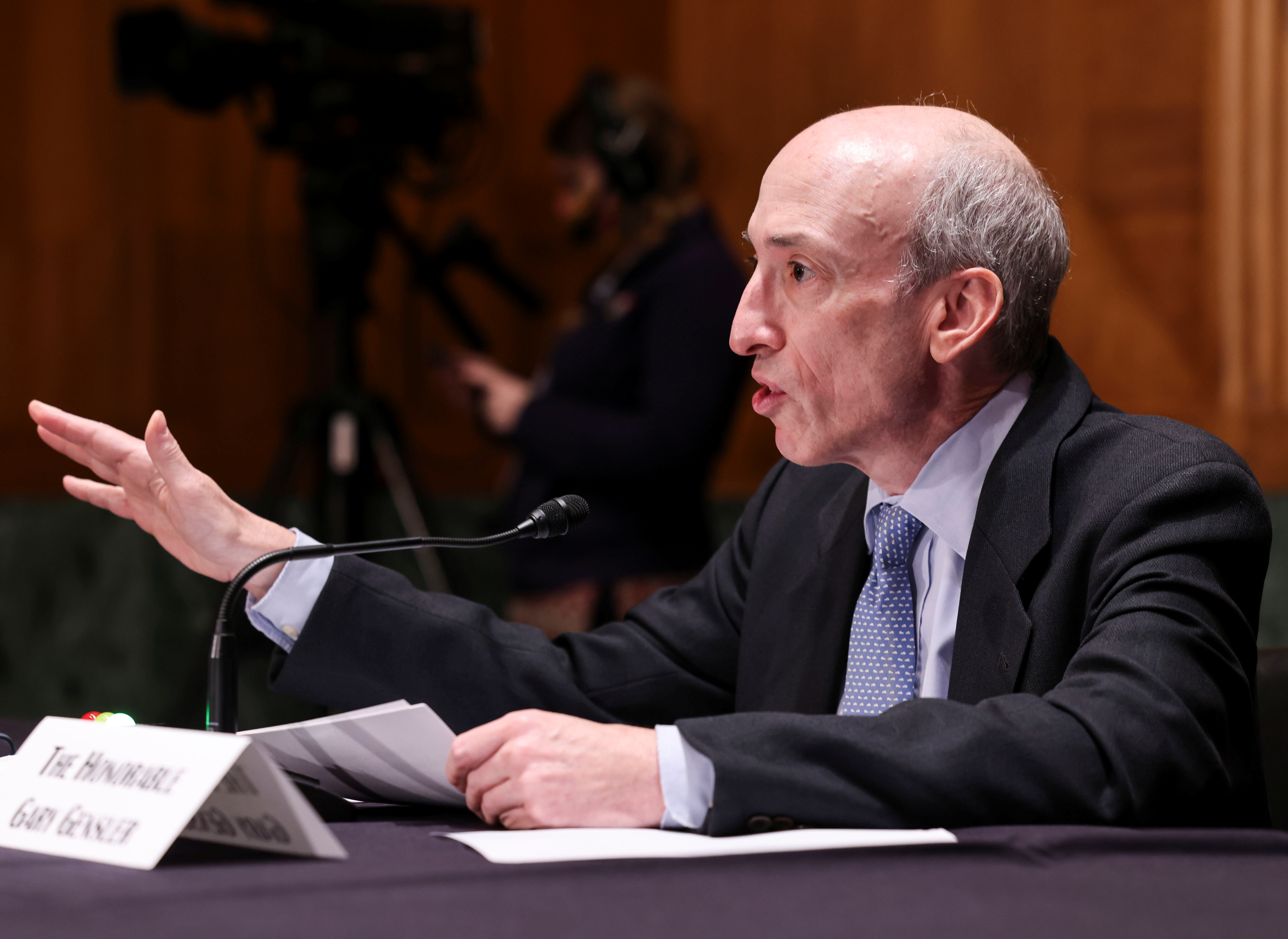 U.S. Securities and Exchange Commission (SEC) Chair Gary Gensler testifies before a Senate Banking, Housing, and Urban Affairs Committee oversight hearing on the SEC on Capitol Hill in Washington, U.S., September 14, 2021. REUTERS/Evelyn Hockstein/Pool