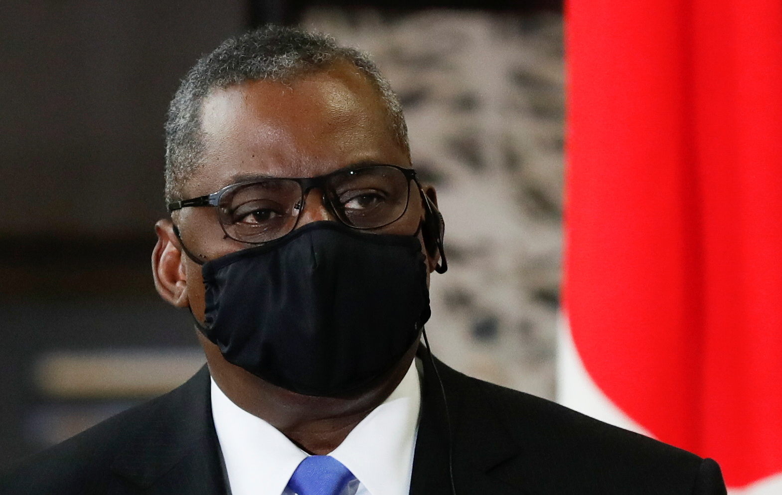 U.S. Defense Secretary Lloyd Austin attends a joint news conference after the 2+2 Meeting with Secretary of State Antony Blinken, Japan's Foreign Minister Toshimitsu Motegi and Defence Minister Nobuo Kishi at Iikura Guest House in Tokyo, Japan, March 16, 2021. REUTERS/Kim Kyung-Hoon/Pool
