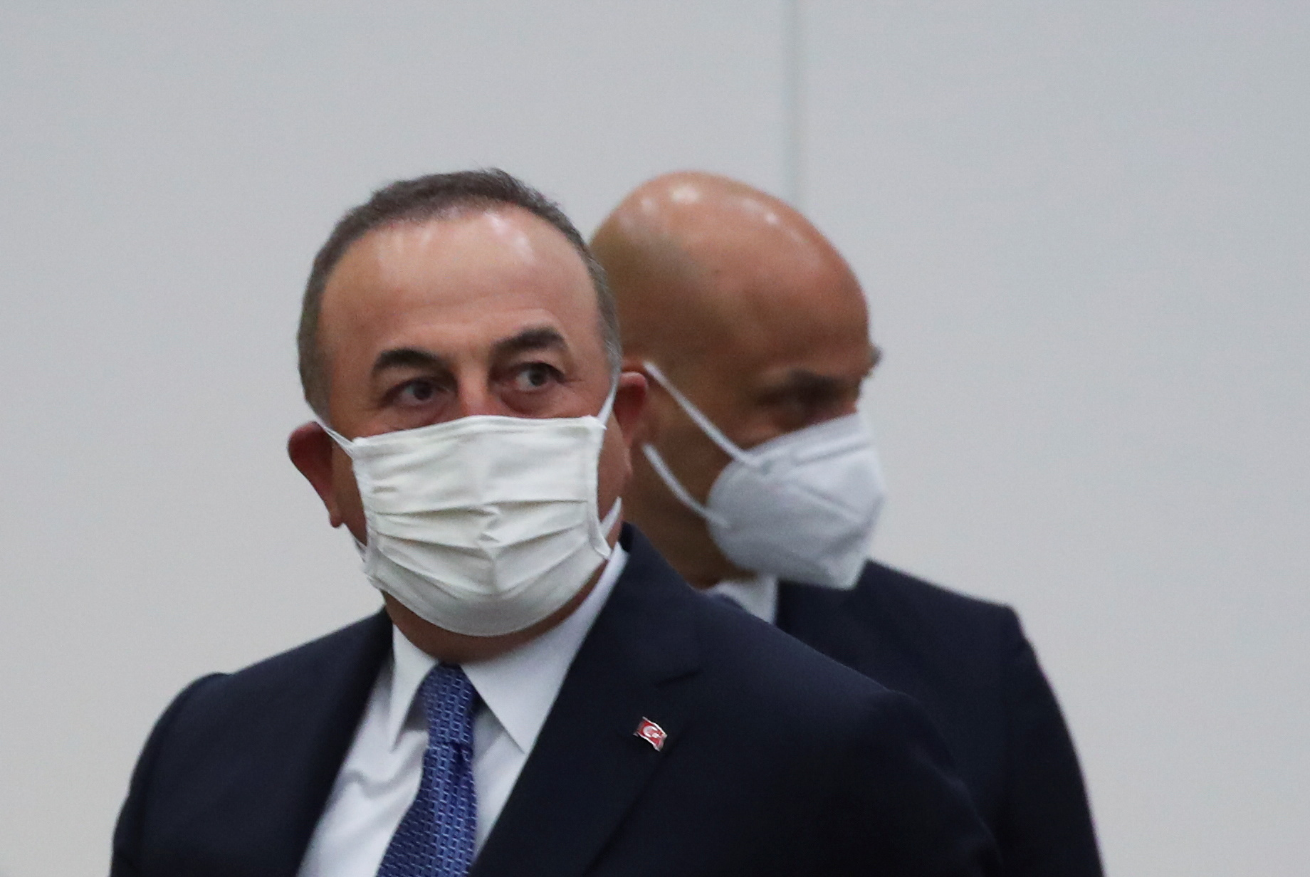 Turkish Foreign Minister Mevlut Cavusoglu attends a North Atlantic Council (NAC) at foreign ministers level, at NATO headquarters in Brussels, Belgium March 23, 2021. REUTERS/Yves Herman/Pool