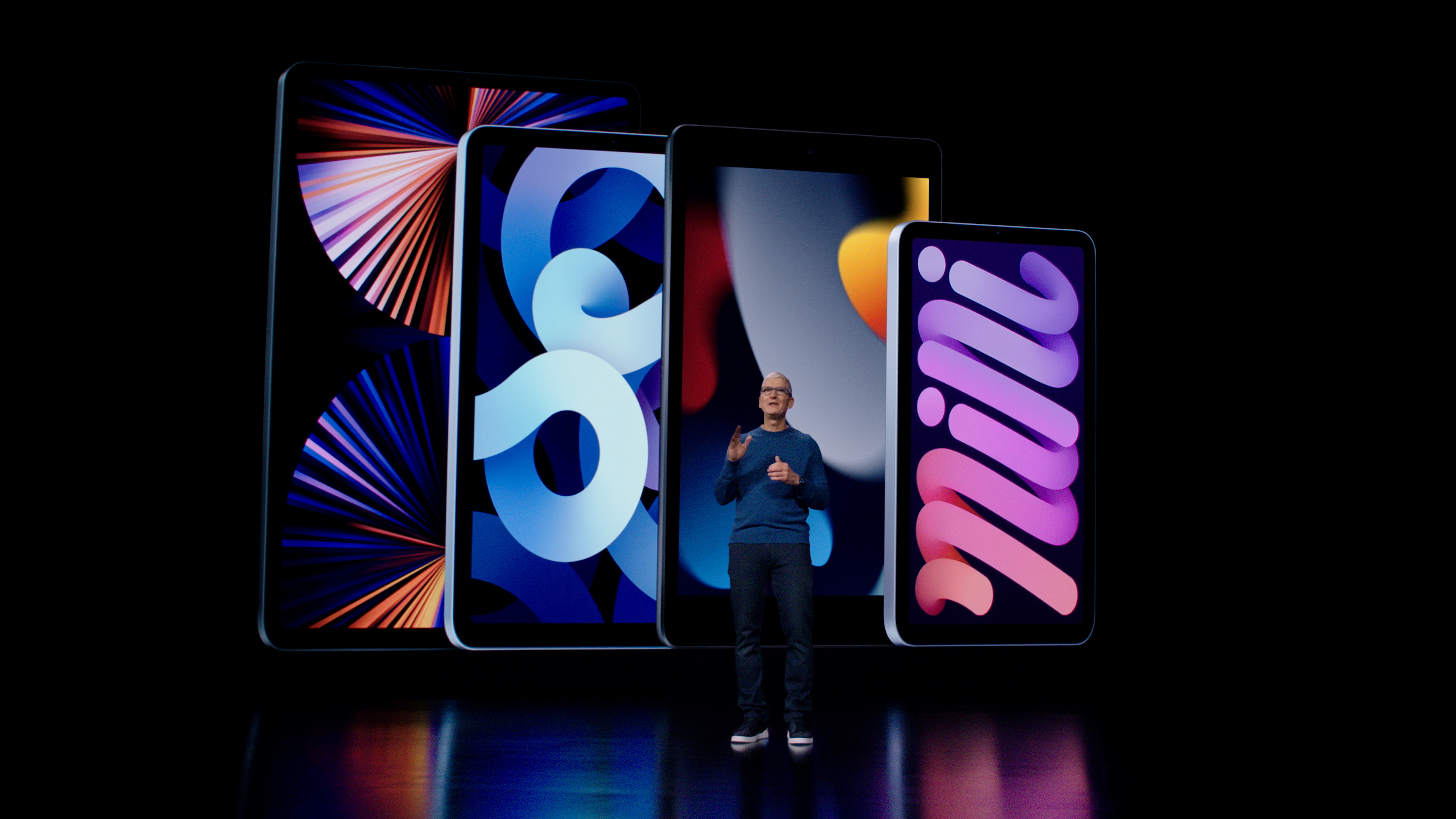 Apple CEO Tim Cook introduces the latest iPad and iPad mini to the iPad lineup during a special event at Apple Park in Cupertino, California broadcast September 14, 2021. Brooks Kraft/Apple Inc/Handout via REUTERS