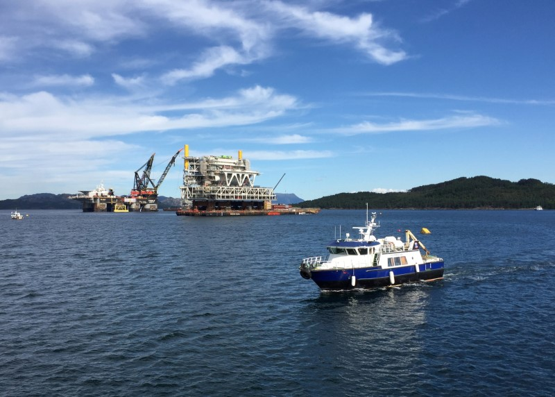 A general view of the drilling platform, the first out of four oil platforms to be installed at Norway's giant offshore Johan Sverdrup field during the 1st phase development, near Stord, western Norway September 4, 2017. REUTERS/Nerijus Adomaitis/File Photo
