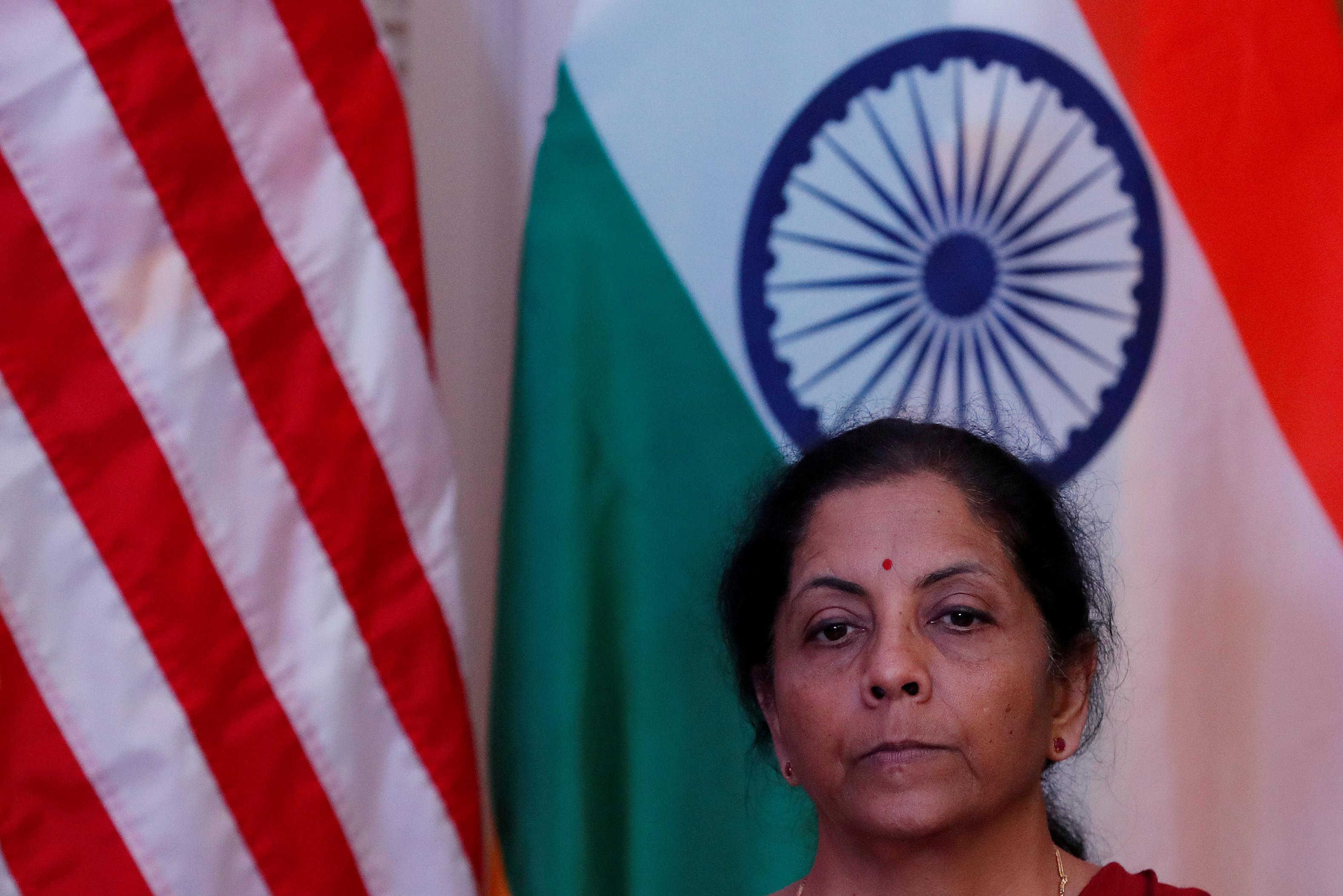 India's Finance Minister Nirmala Sitharaman attends a joint news conference with U.S. Treasury Secretary Steven Mnuchin in New Delhi, India, November 1, 2019. REUTERS/Adnan Abidi/File Photo