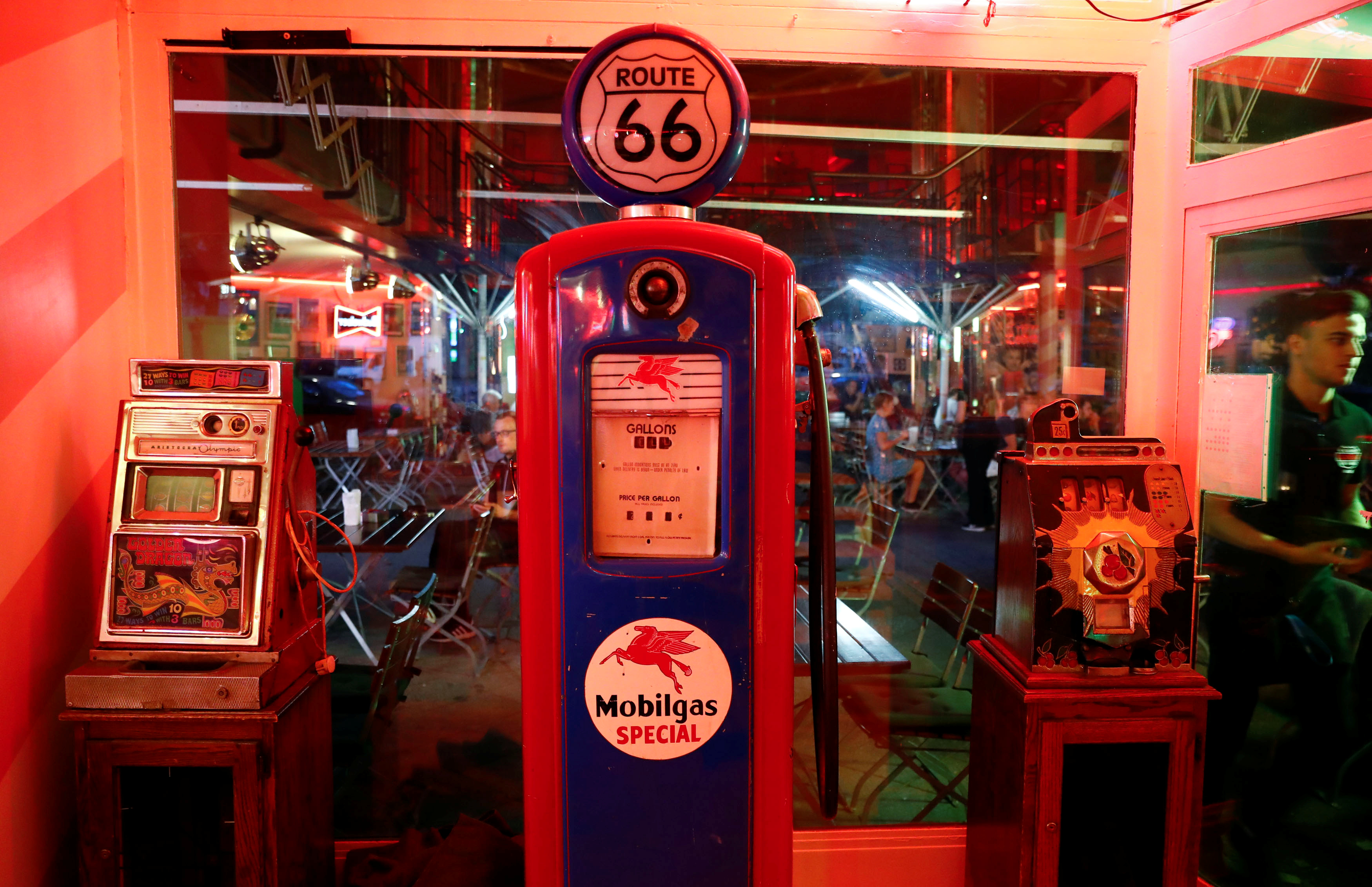 A gas pump is on display at