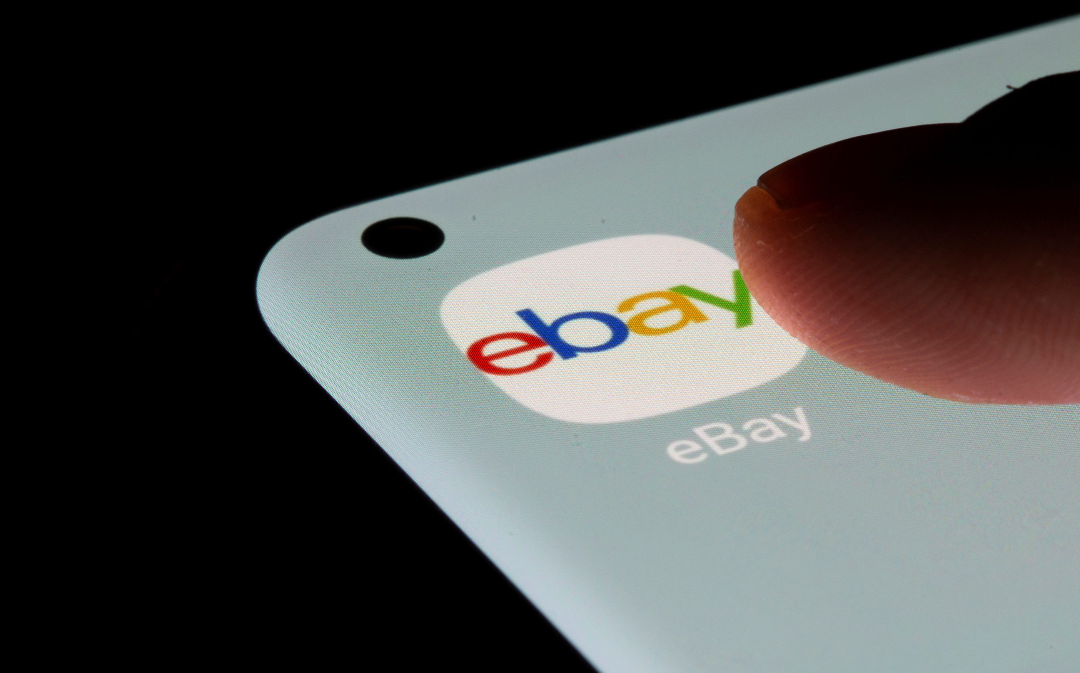 The eBay app is seen on a smartphone in this illustration taken, July 13, 2021. REUTERS/Dado Ruvic/Illustration