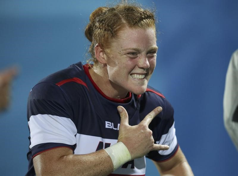 2016 Rio Olympics - Rugby - Women's Placing 5-6 France v USA  - Deodoro Stadium - Rio de Janeiro, Brazil - 08/08/2016. Leyla Alev Kelter (USA) of USA celebrates at the end of the match.  REUTERS/Phil Noble