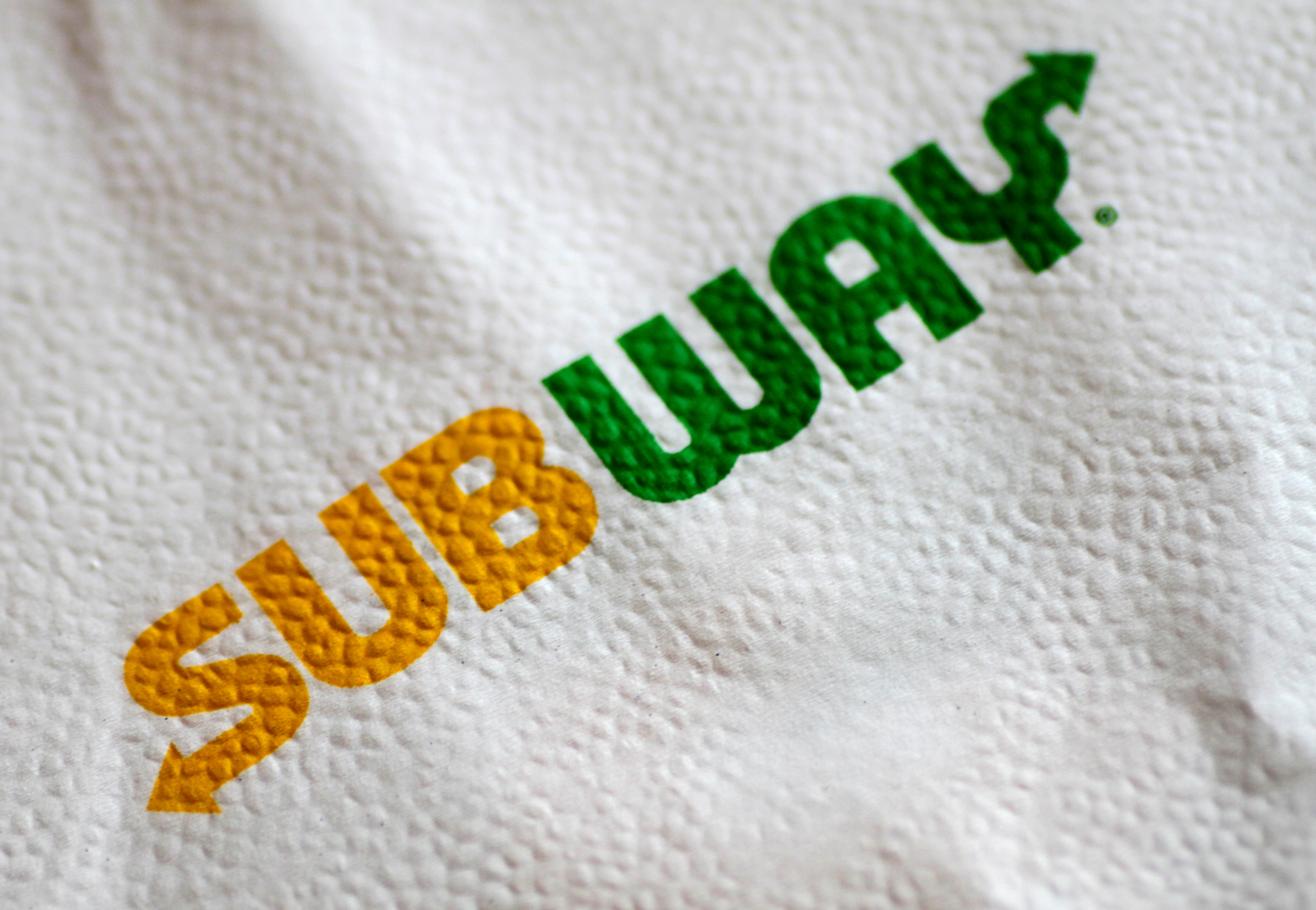 The Subway restaurant logo is seen on a napkin in this illustration photo August 30, 2017.   REUTERS/Thomas White/Illustration/File Photo