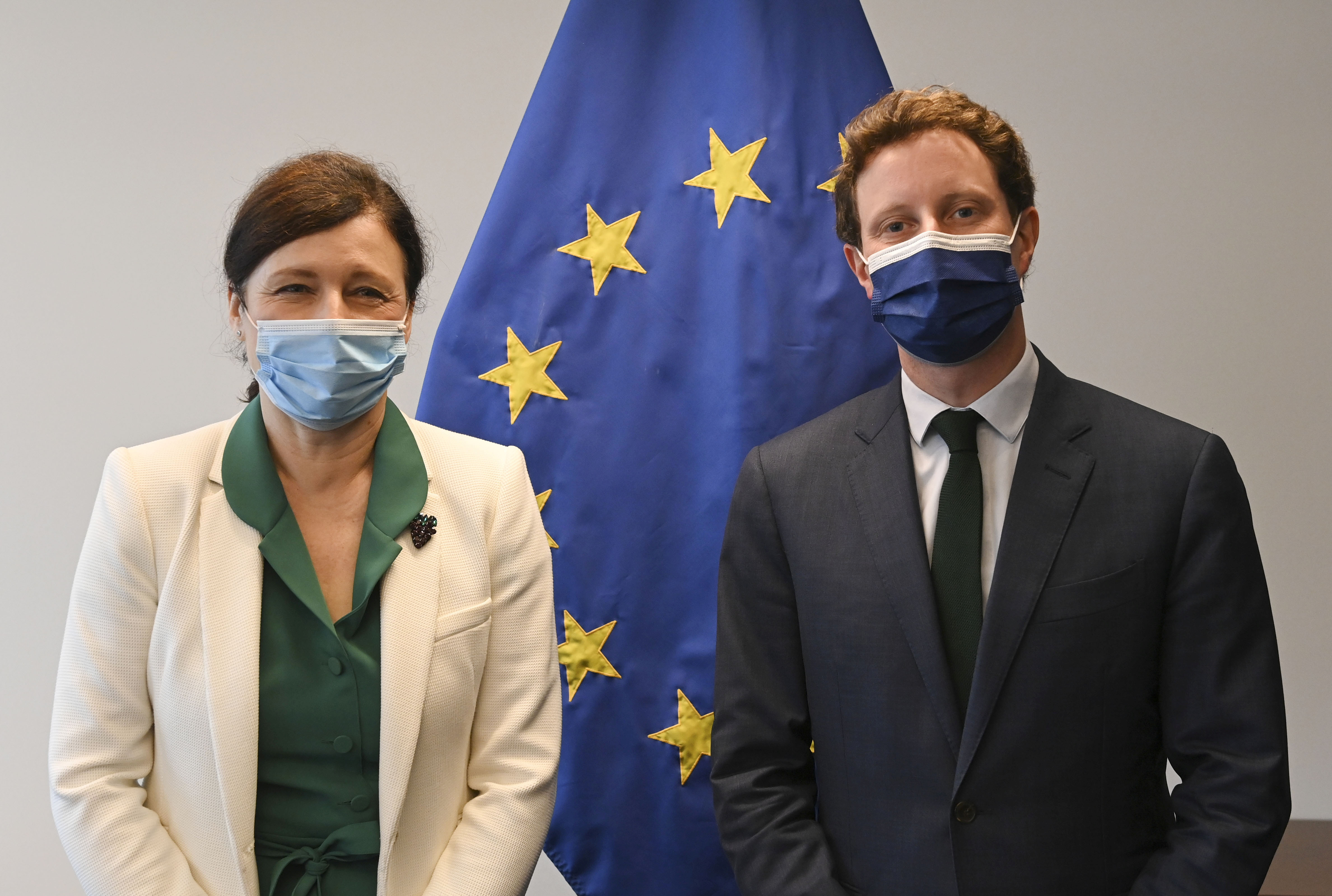 European Commission Vice-President in charge of Values and Transparency Vera Jourova and French Minister for European Affairs Clement Beaune pose for a picture before their meeting during a General Affairs Council in Luxembourg June 22, 2021. John Thys/Pool via REUTERS