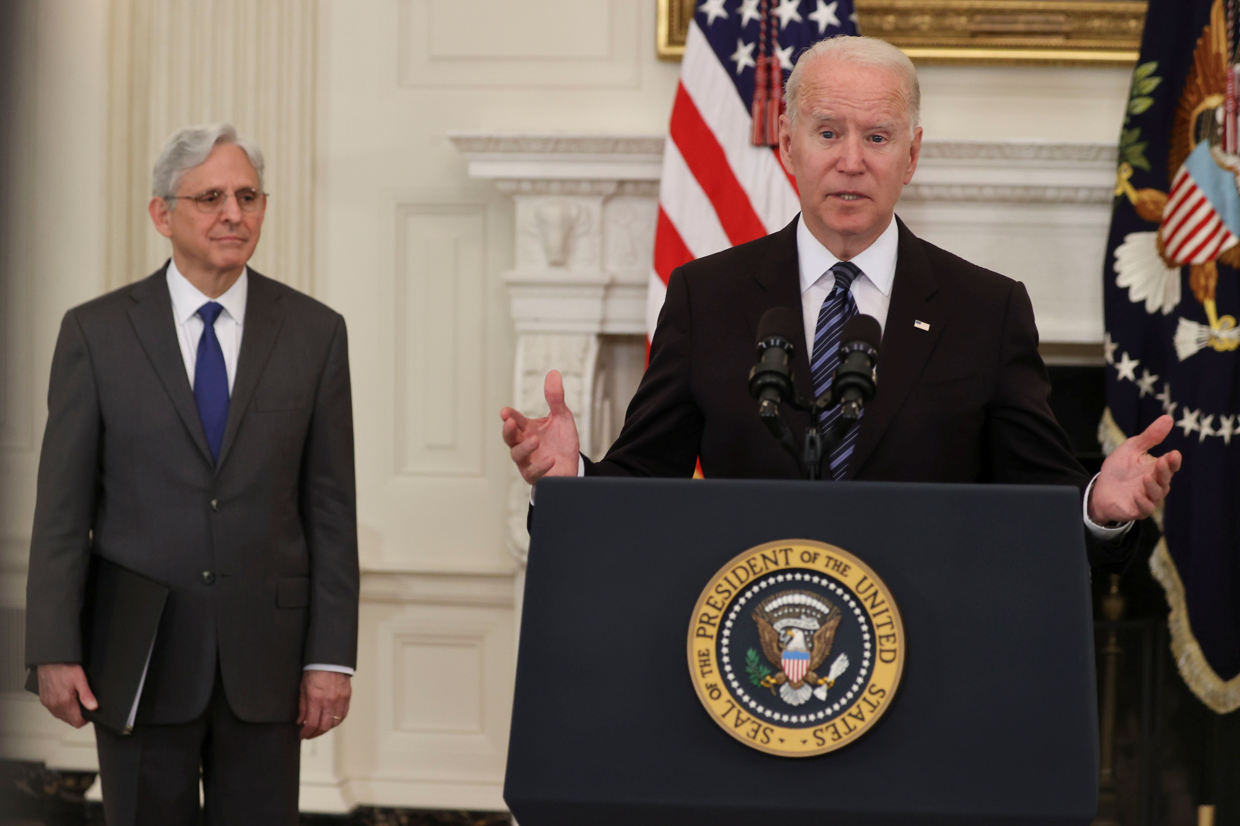 U.S. President Joe Biden delivers remarks accompanied by U.S. Attorney General Merrick Garland, after a roundtable discussion with advisors on steps to curtail U.S. gun violence, at the White House in Washington, U.S. June 23, 2021. REUTERS/Jonathan Ernst