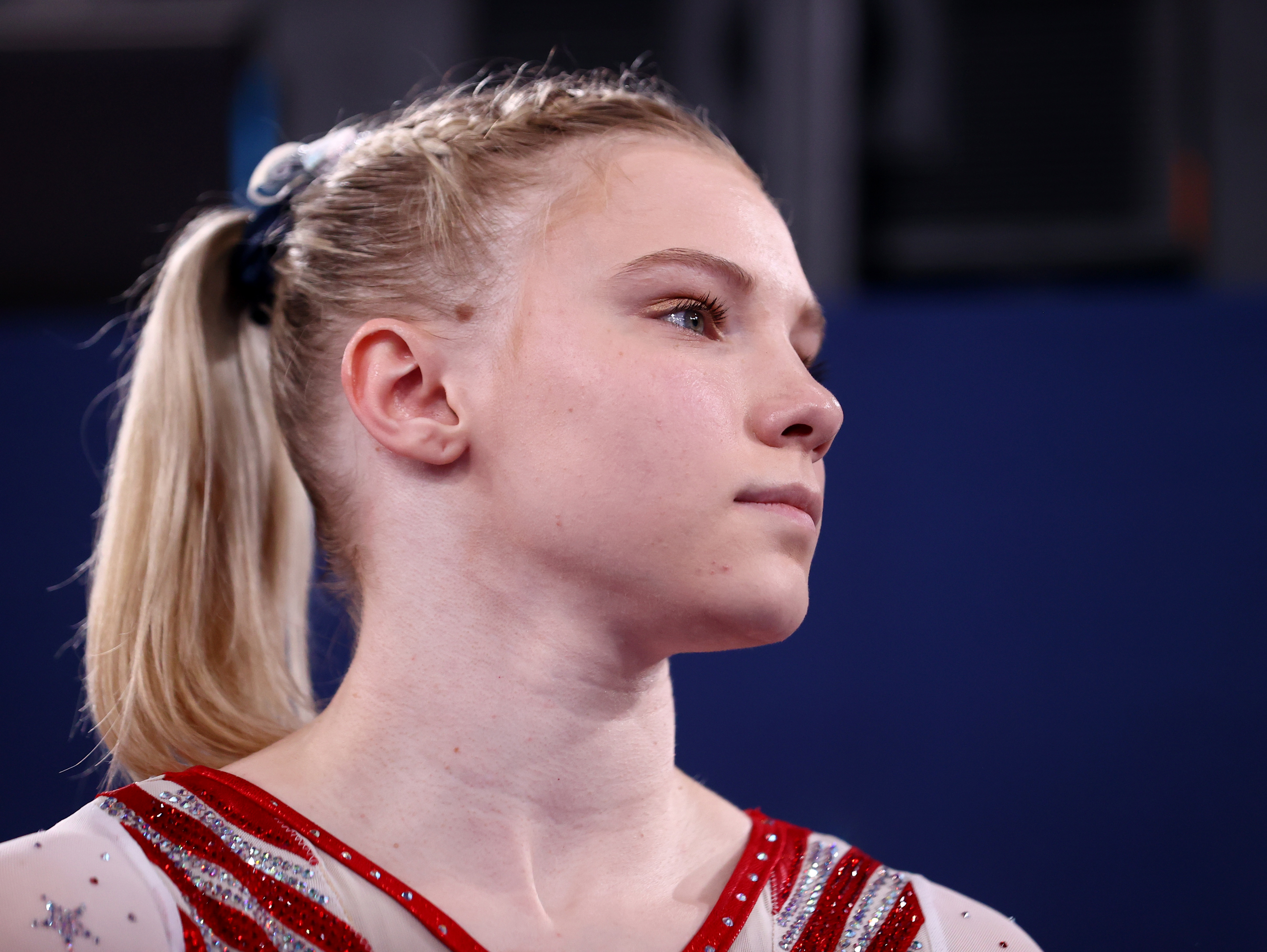 Tokyo 2020 Olympics - Gymnastics - Artistic - Women's Floor Exercise - Final - Ariake Gymnastics Centre, Tokyo, Japan - August 2, 2021.  Jade Carey of the United States looks on. REUTERS/Lindsey Wasson