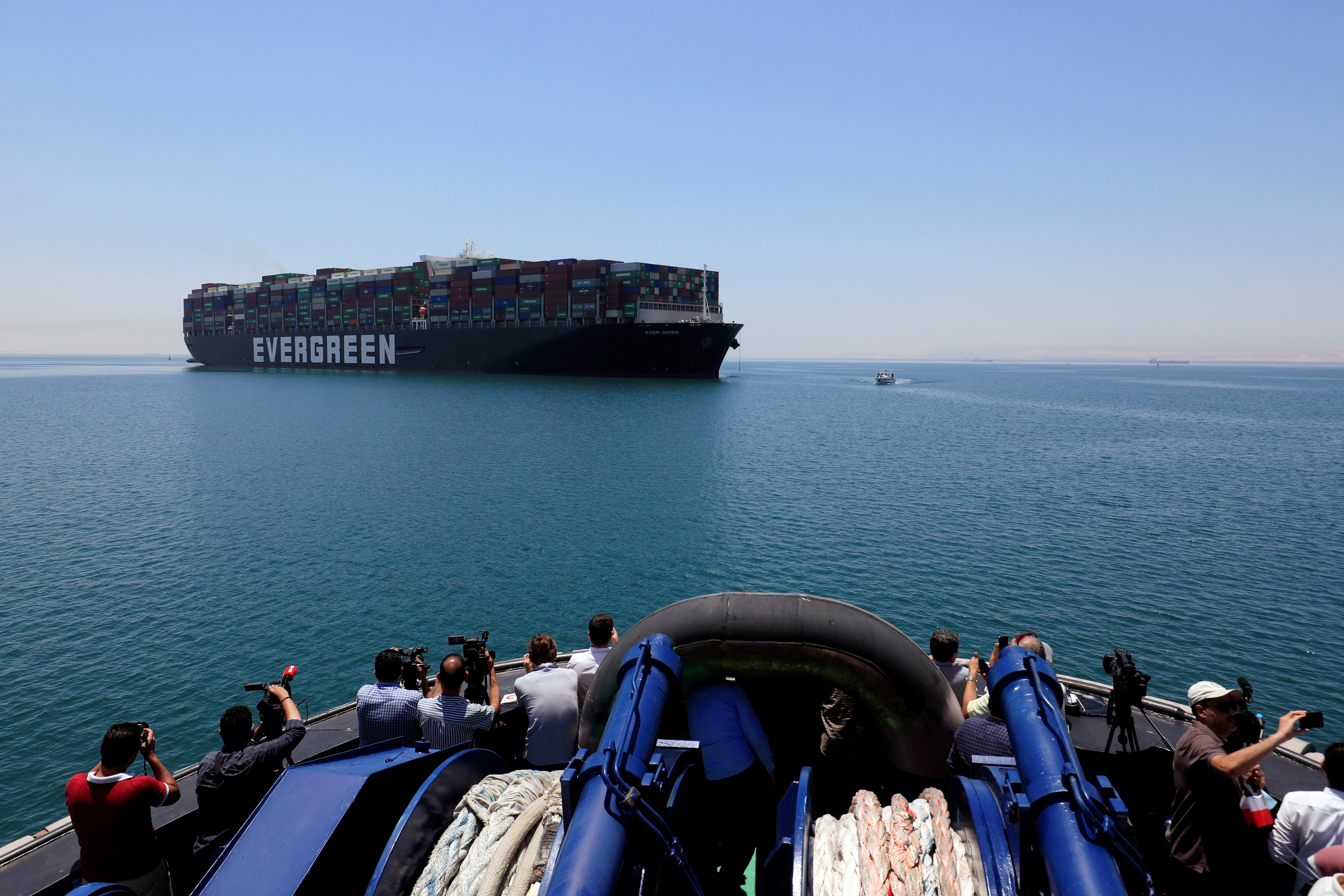 Ever Given, one of the world's largest container ships, is seen at the Suez Canal after the canal authority reached a settlement with the vessel's owner and insurers, in Egypt's Great Bitter Lake in Ismailia, Egypt, July 7, 2021. REUTERS/Amr Abdallah Dalsh/File Photo