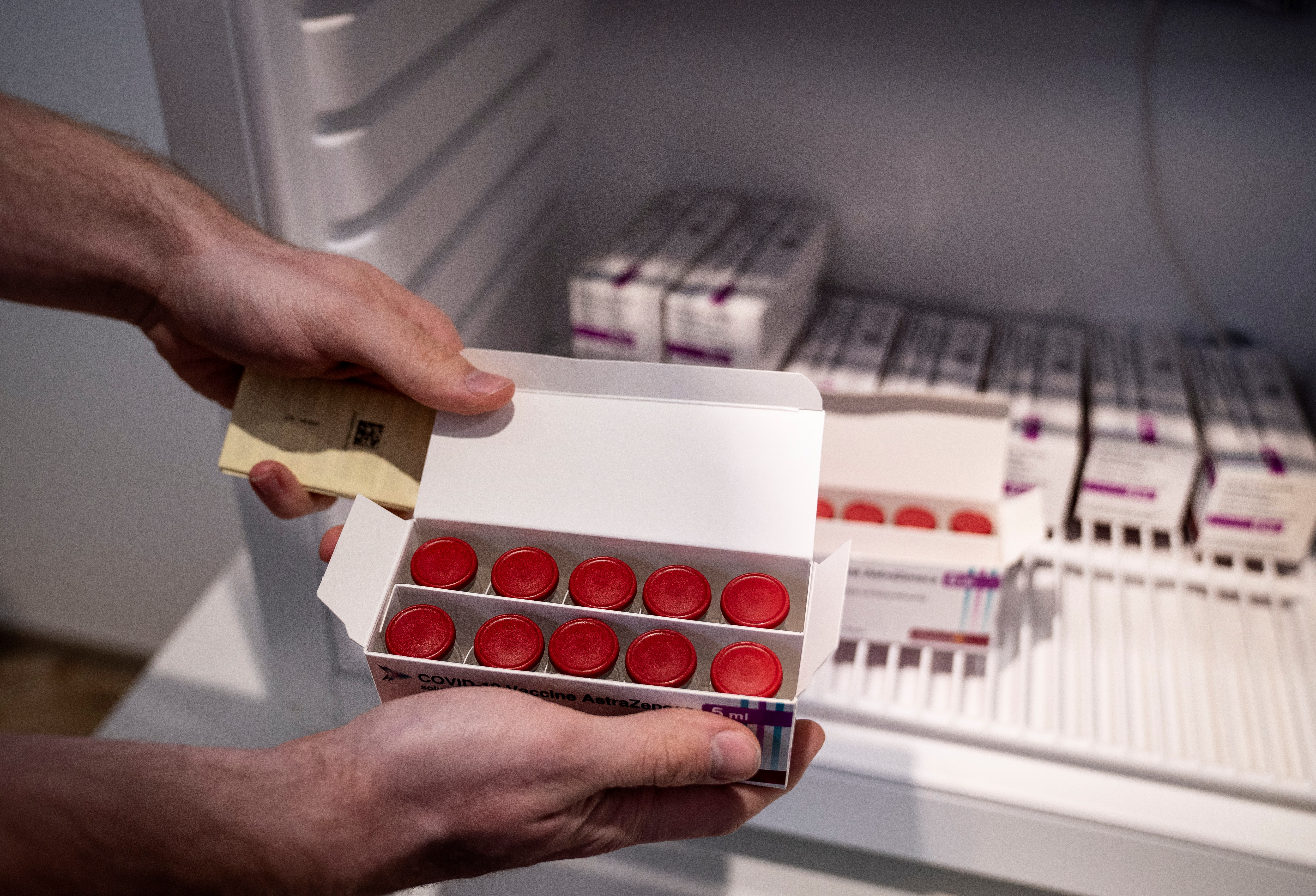 Staff member displays AstraZeneca COVID-19 vaccines in storage at Region Hovedstaden's Vaccine Center, Copenhagen, Denmark February 11, 2021. Ritzau Scanpix/Liselotte Sabroe via REUTERS