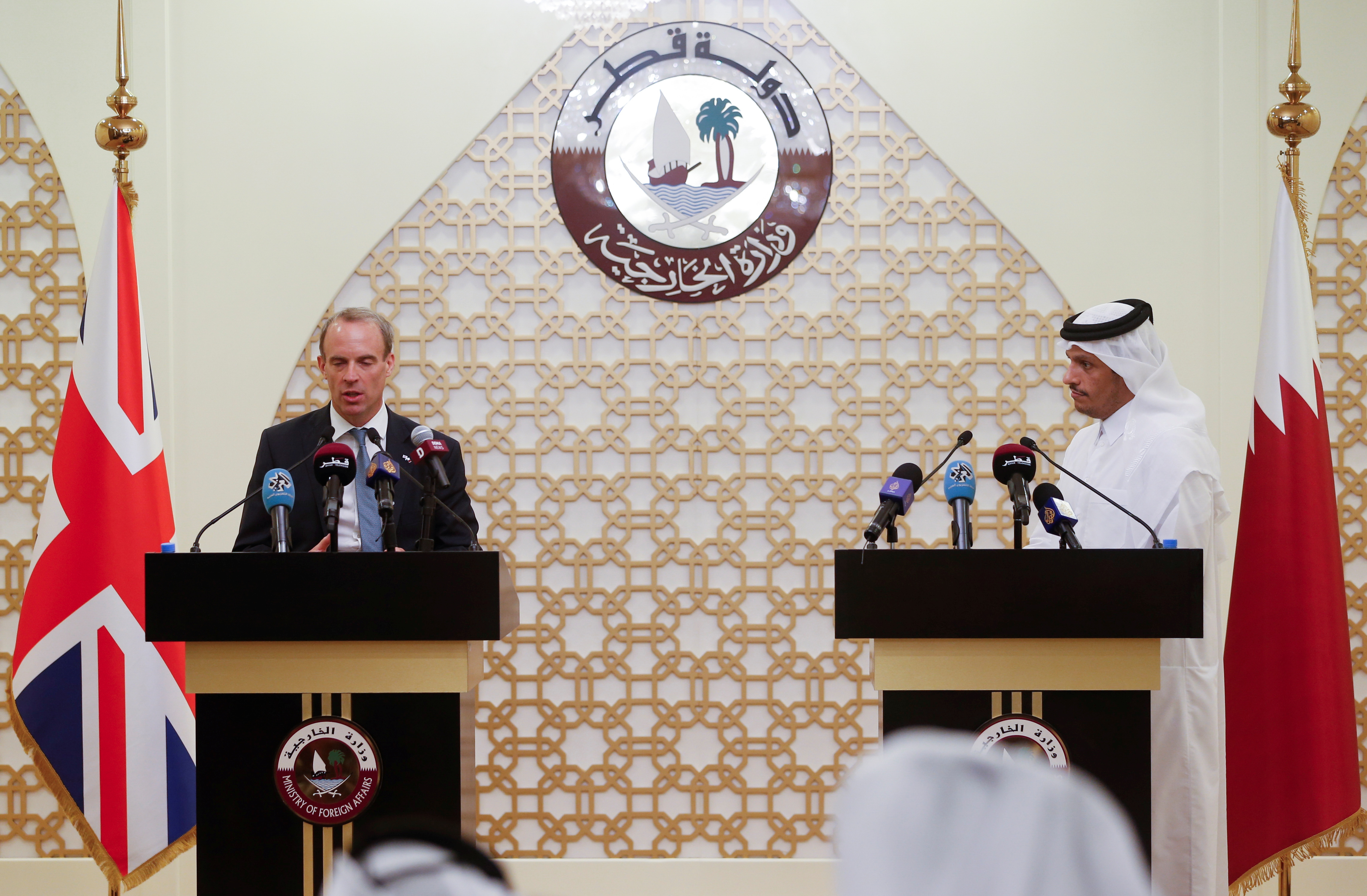 Qatari Foreign Minister Sheikh Mohammed bin Abdulrahman Al-Thani and Britain's Foreign Secretary Dominic Raab hold a joint news conference in Doha, Qatar, September 2, 2021. REUTERS/Hamad l Mohammed