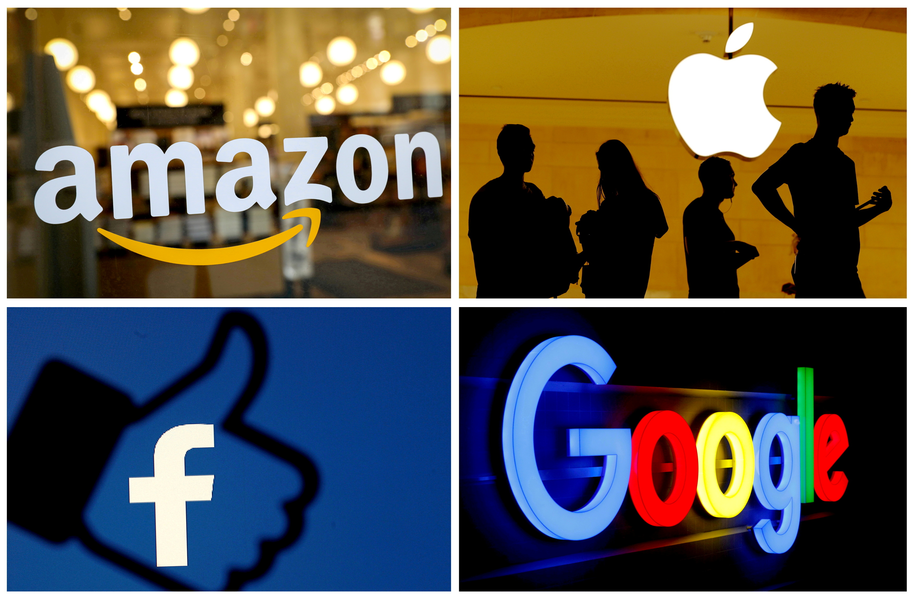 The logos of Amazon, Apple, Facebook and Google in a combination photo.