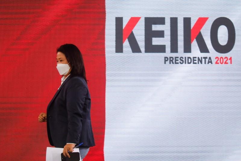 Peru's presidential candidate Keiko Fujimori attends a news conference, in Lima, Peru June 17, 2021. REUTERS/Sebastian Castaneda