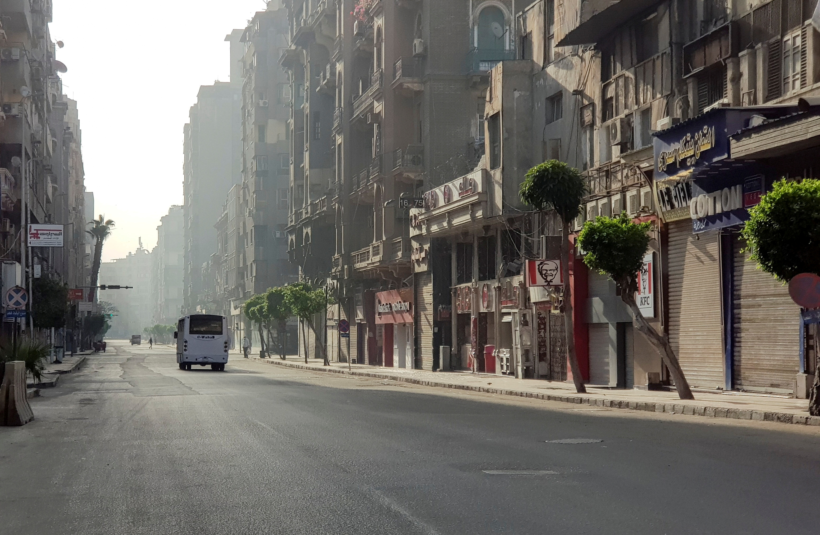 A general view of empty streets in downtown Cairo, amid the coronavirus disease (COVID-19) outbreak, during the traditional spring holiday of 'Shem al-Neseem', in Cairo, Egypt, May 3, 2021. REUTERS/Sayed Sheasha/File Photo