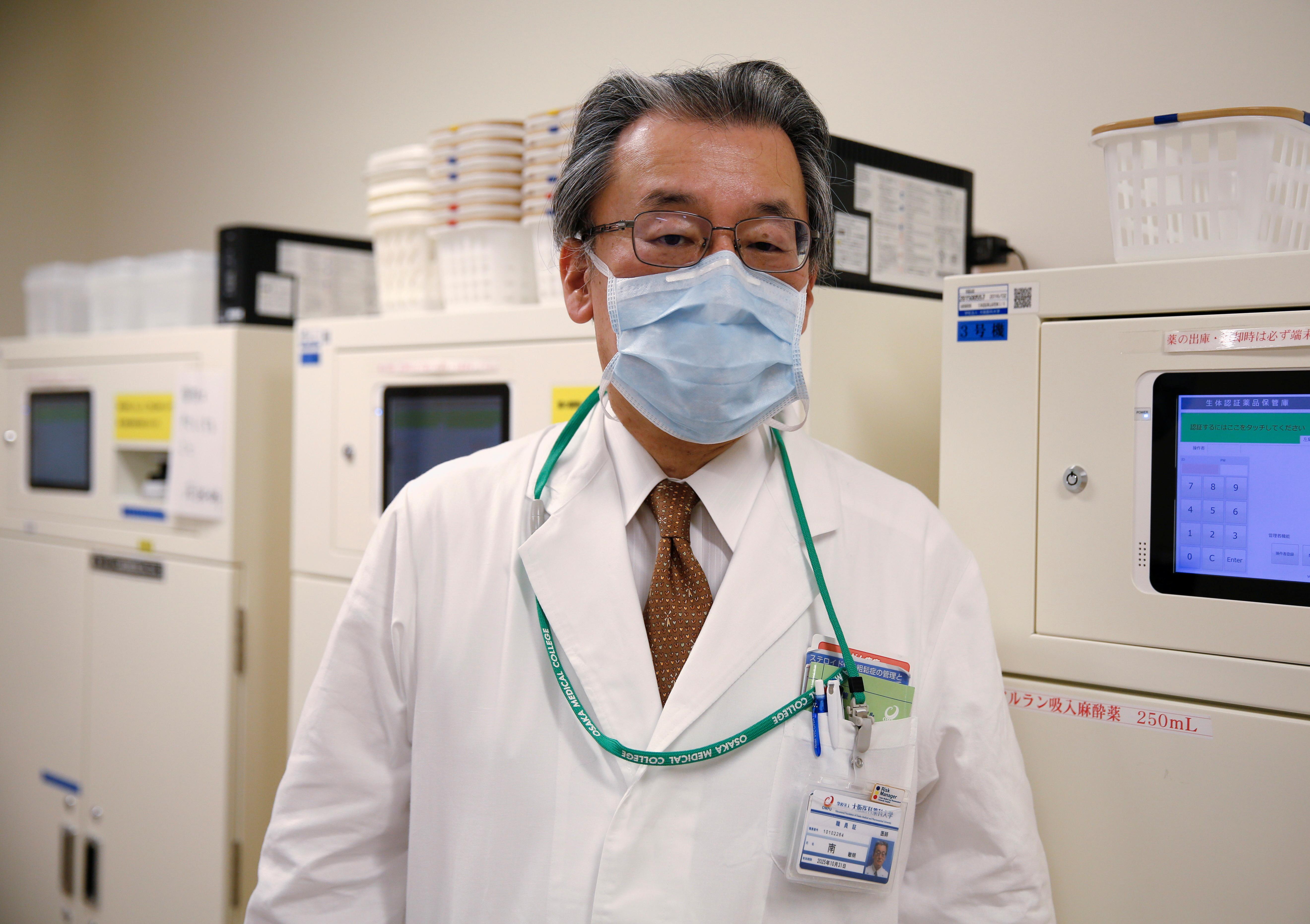 Doctor Toshiaki Minami, director at Osaka Medical and Pharmaceutical University Hospital, poses for a photograph at a drug storage at the hospital, amid the coronavirus disease (COVID-19) pandemic, in Takatsuki, Osaka prefecture, Japan May 17, 2021. REUTERS/Akira Tomoshige