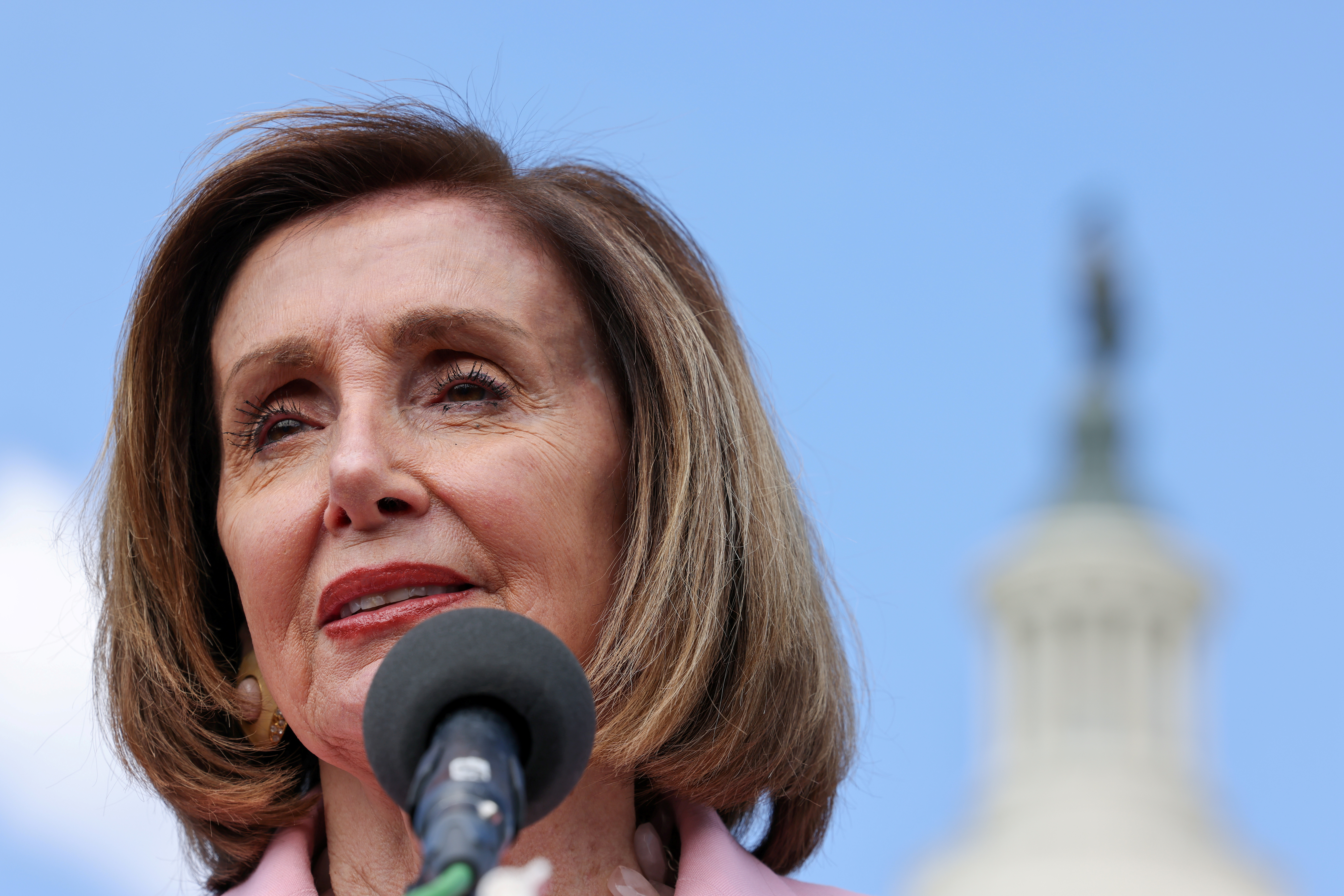 U.S. House Speaker Nancy Pelosi (D-CA) speaks during a news conference on infrastructure on Capitol Hill in Washington, U.S., May 12, 2021. REUTERS/Evelyn Hockstein
